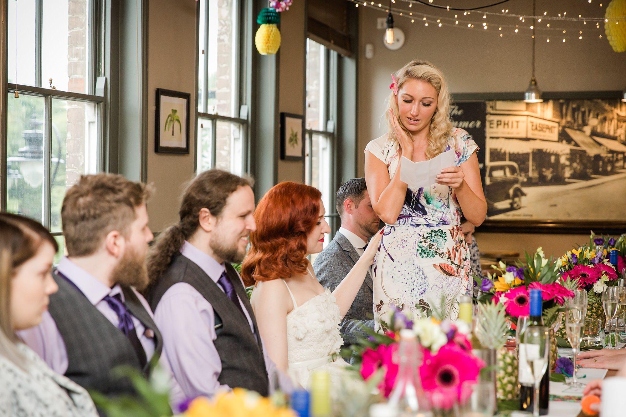 The Grange Ealing wedding bridesmaids gives a speech
