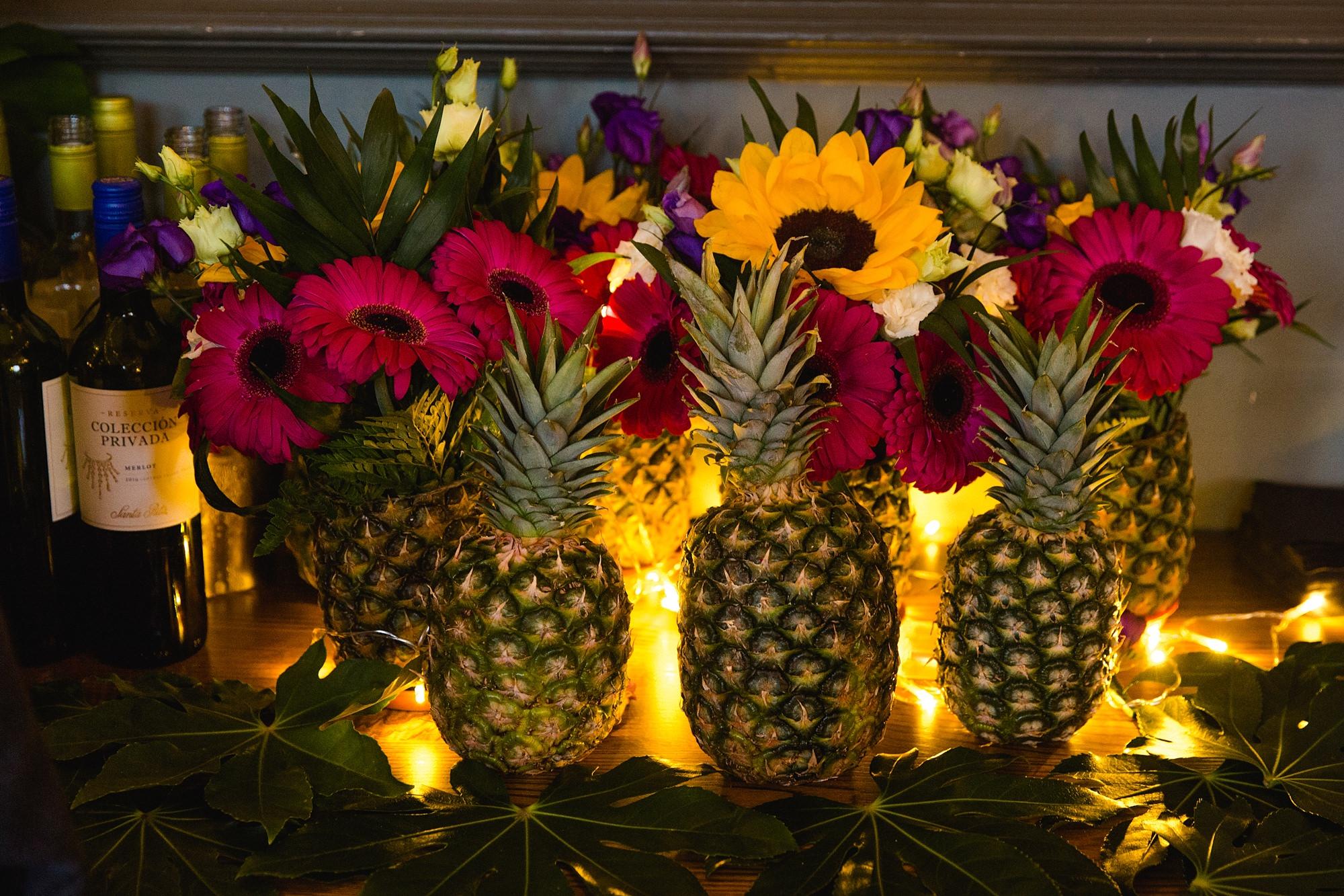 The Grange Ealing wedding pineapple and LED light decoration