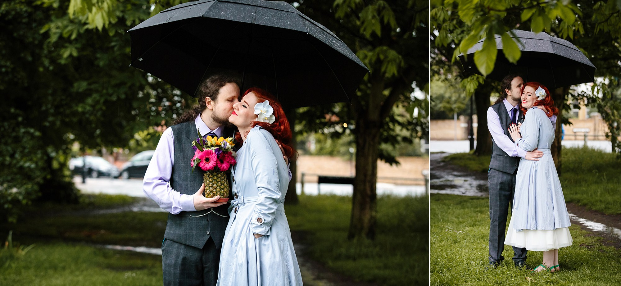 The Grange Ealing wedding bride and groom with tropical flowers under umbrella