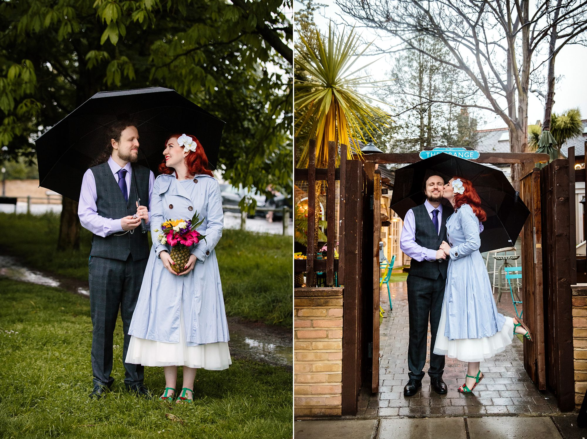 portrait of bride and groom in the rain at ealing common