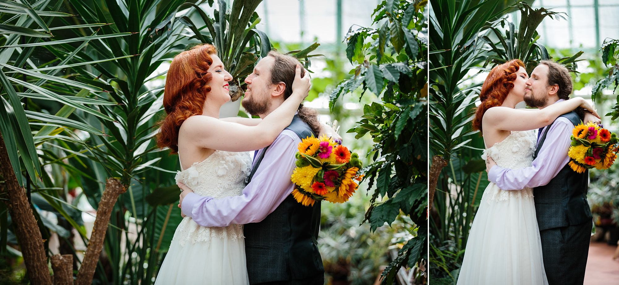 tropical wedding shoot groom and bride with tropical plants