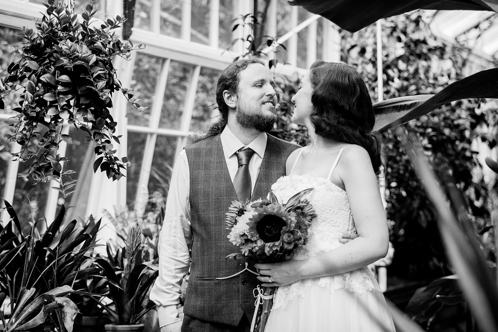 tropical wedding shoot in conservatory