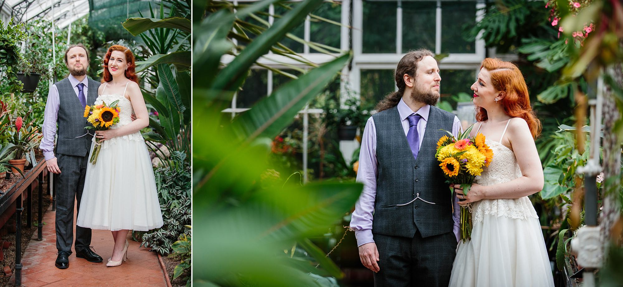 tropical wedding shoot portrait of bride and groom amongst tropical leaves