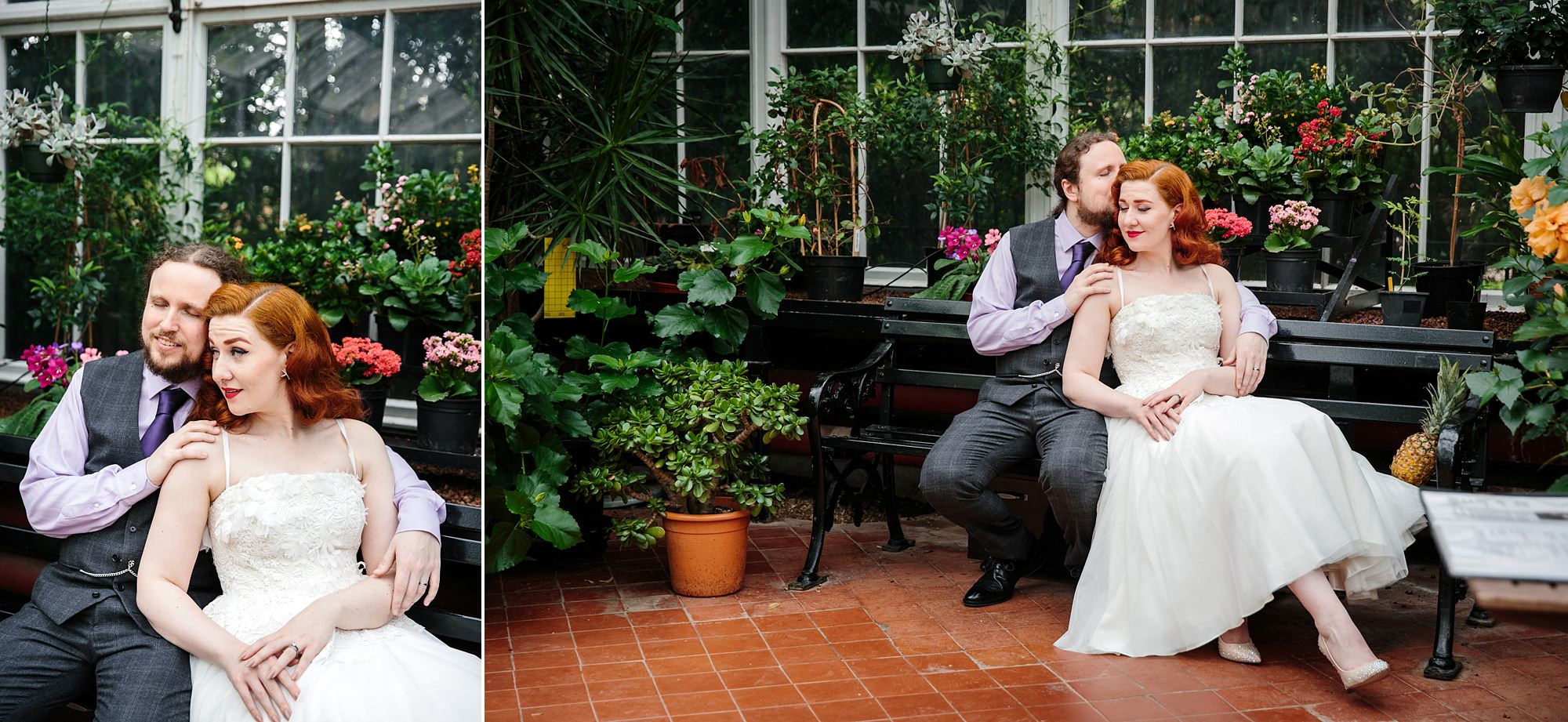 tropical wedding shoot portrait of bride and groom sat together in tropical conservatory