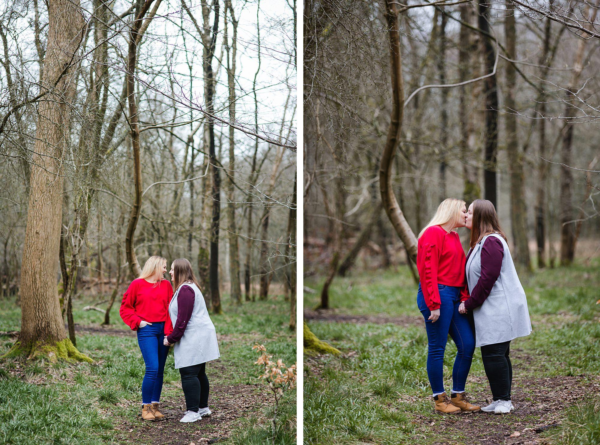 Ashridge park engagement shoot brides kiss in park