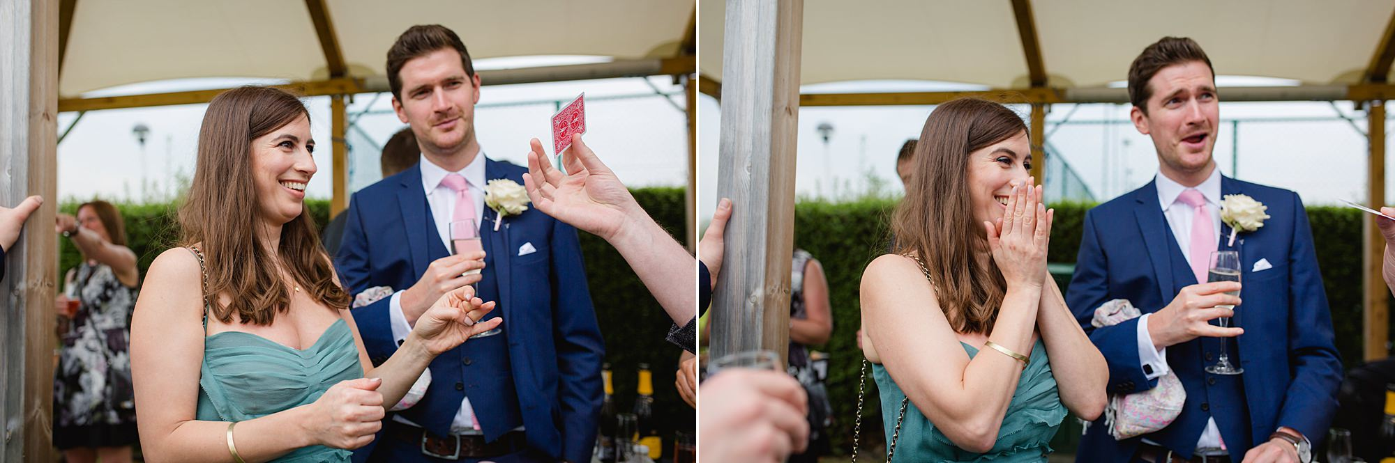 Bank of England Sports Centre wedding guests enjoying magic tricks