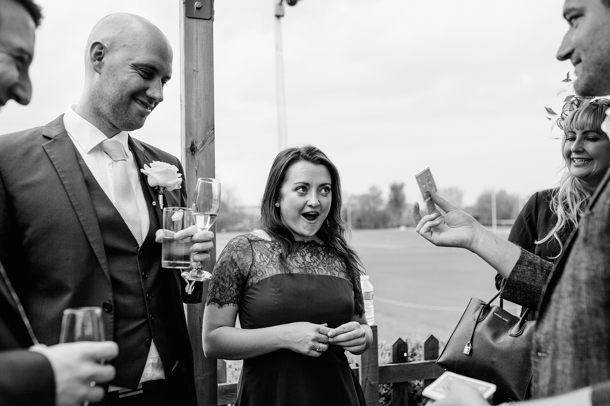 Bank of England Sports Centre wedding fun guest reaction to magic trick