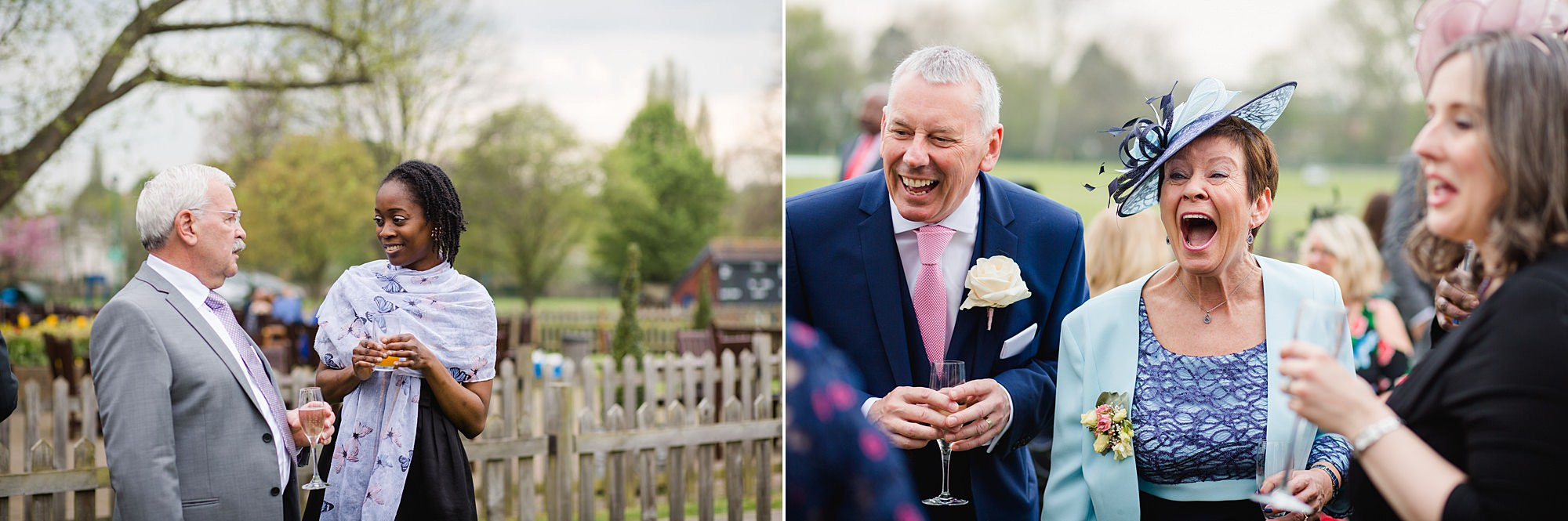 Bank of England Sports Centre wedding guests laughing together