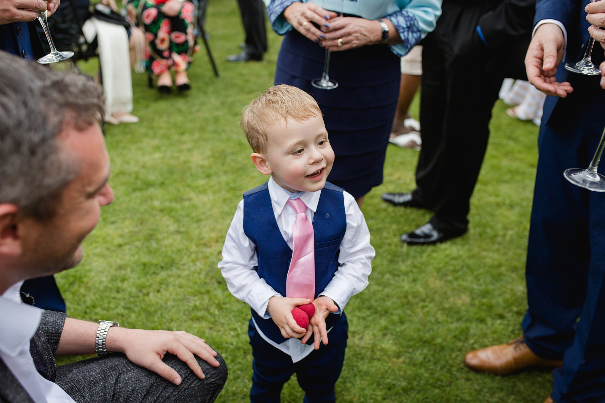 Bank of England Sports Centre wedding guest enjoys a magic trick