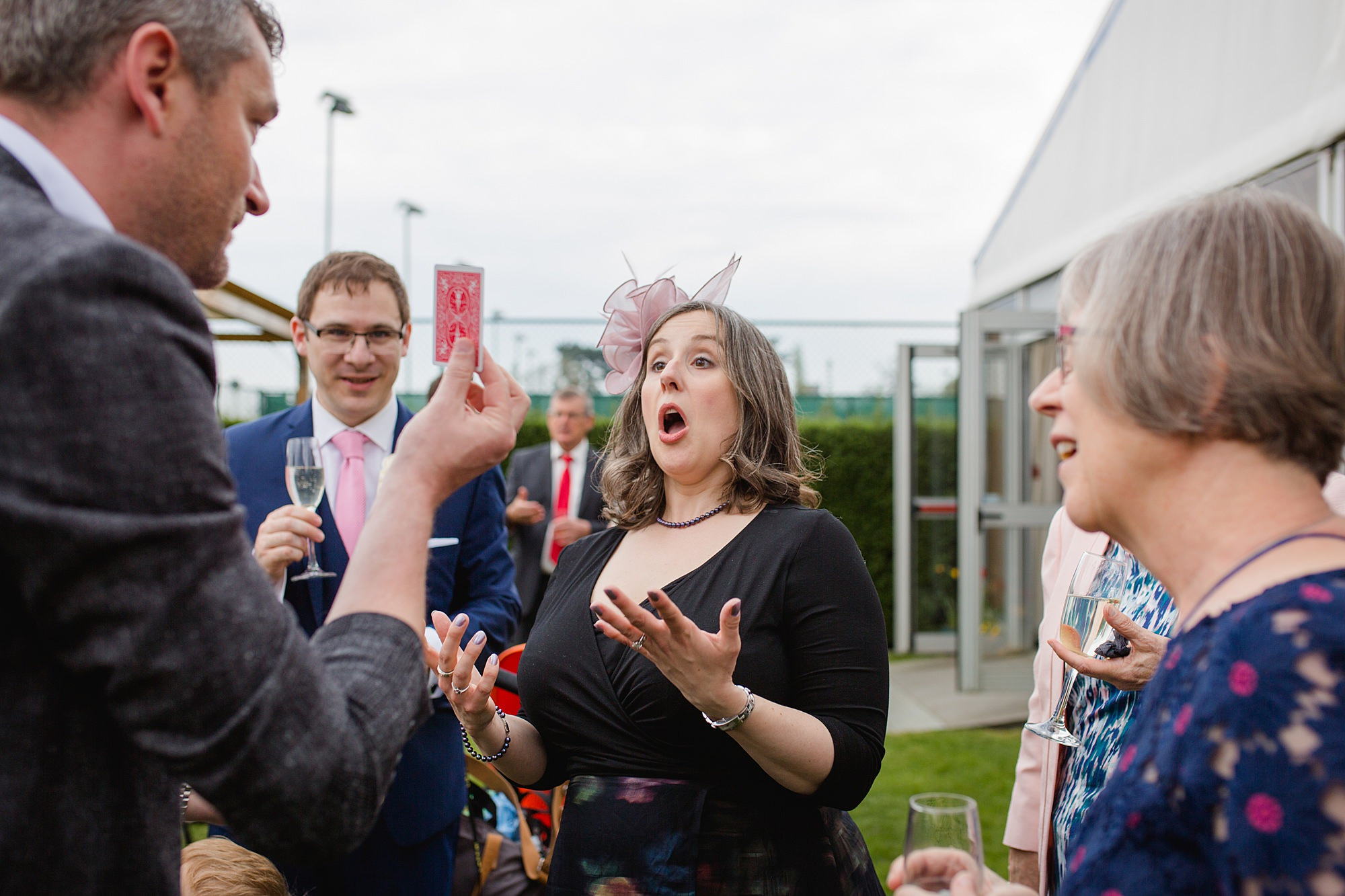Bank of England Sports Centre wedding guest funny surprised reaction at magic trick