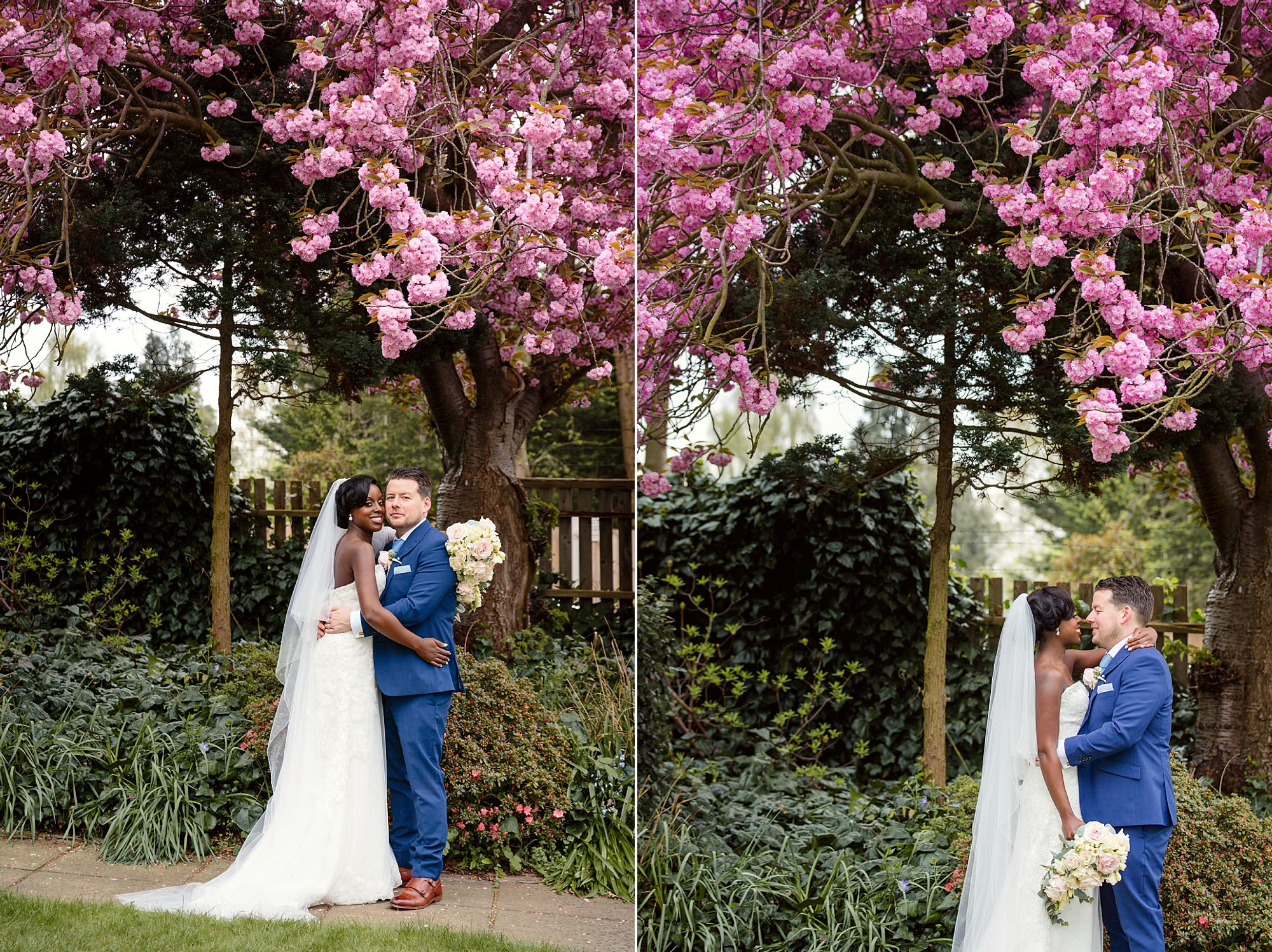 Bank of England Sports Centre wedding portrait of bride and groom by pink blossom tree