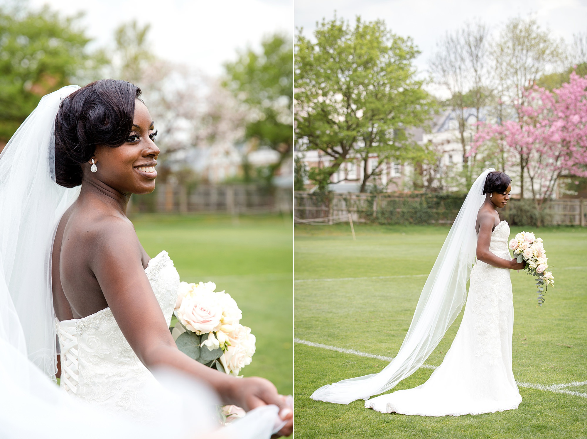 Bank of England Sports Centre wedding portrait of bride on sports field