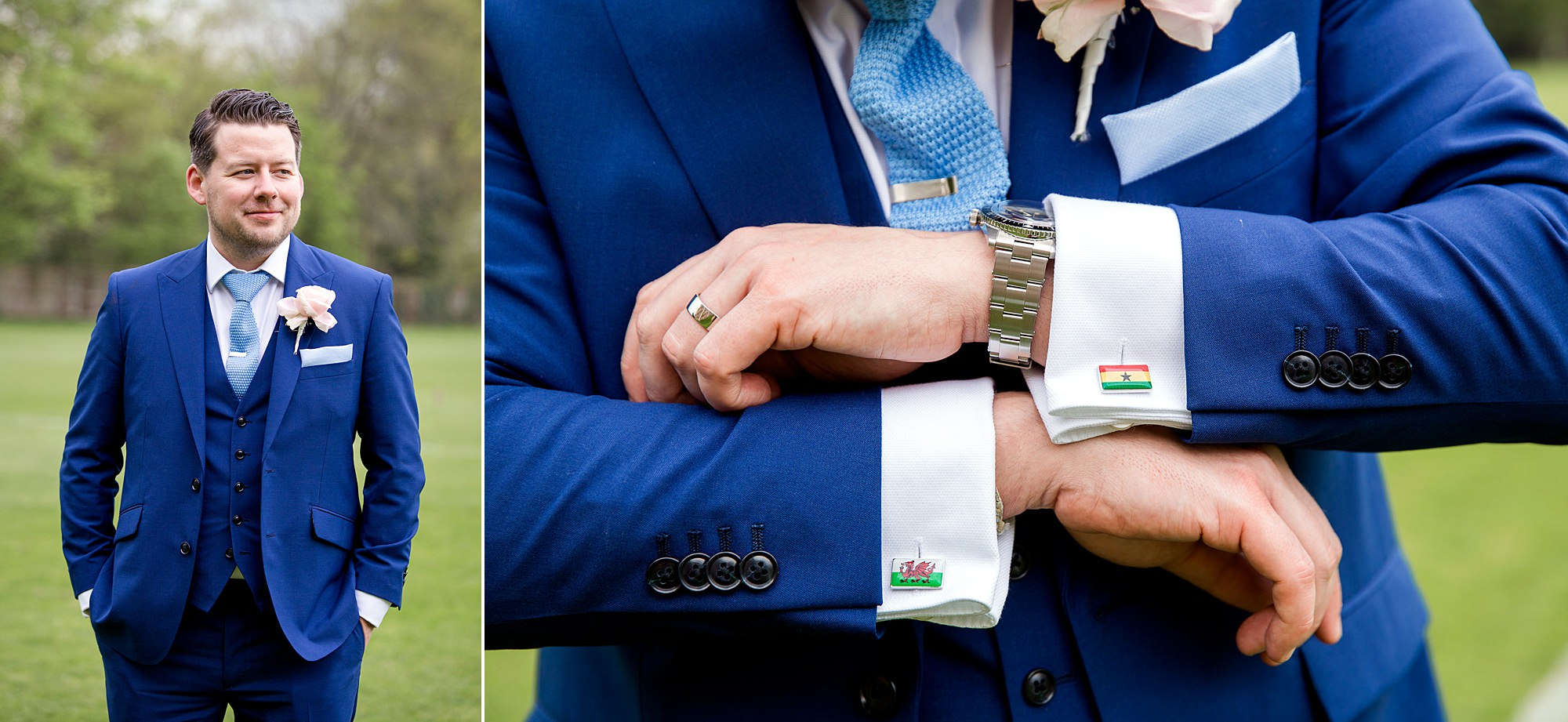 Bank of England Sports Centre wedding portrait of groom with cufflinks