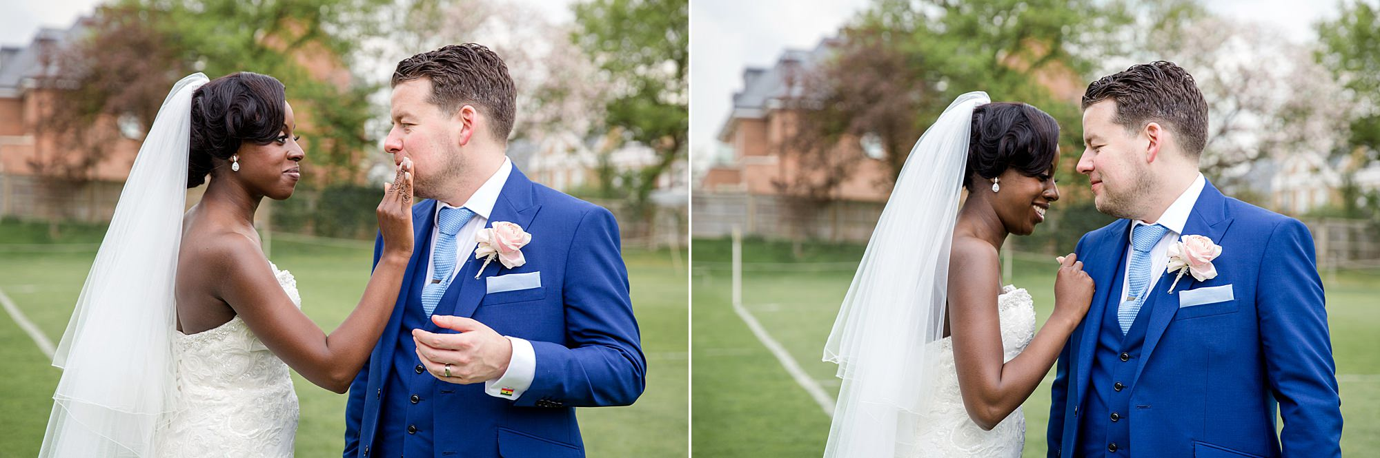 Bank of England Sports Centre wedding bride wipes lipstick off groom