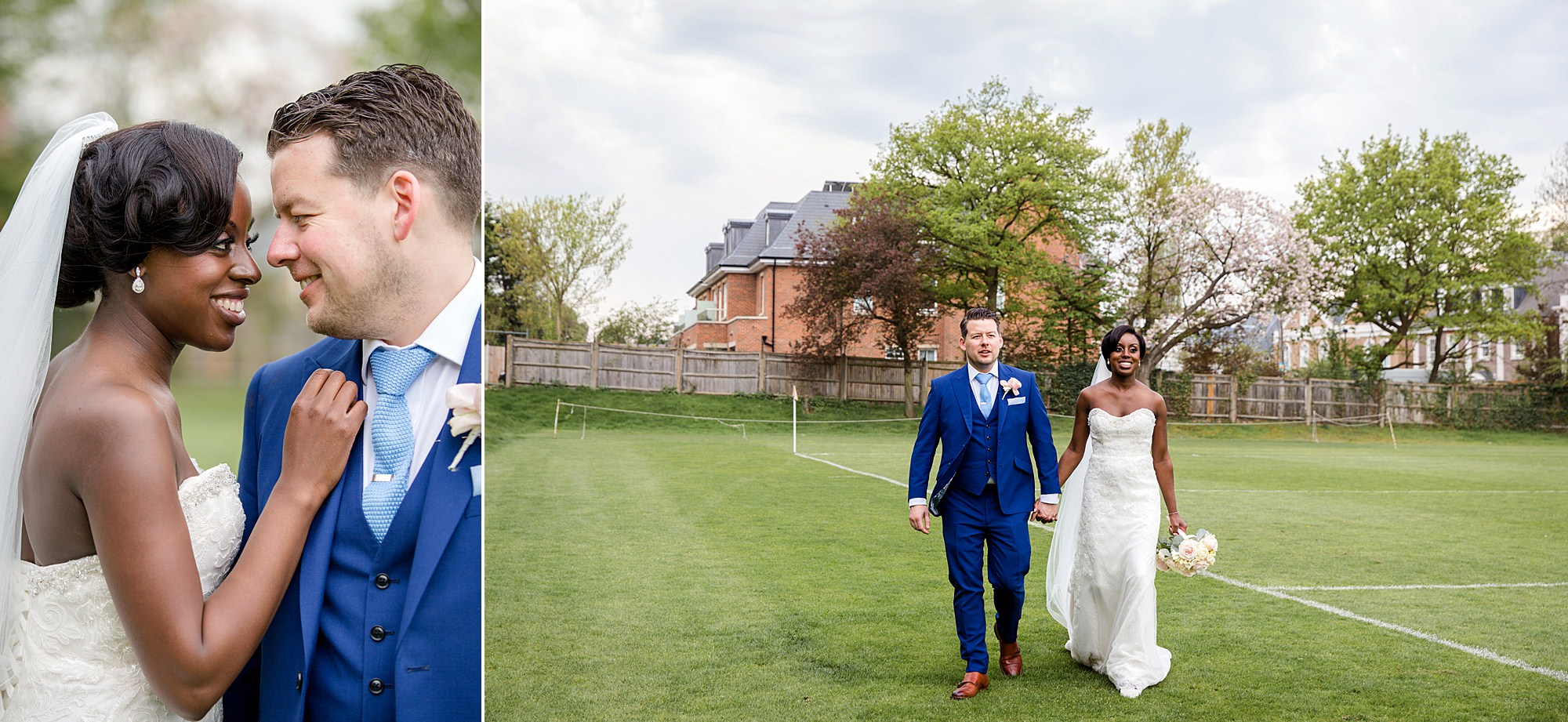 Bank of England Sports Centre wedding bride and groom walk across field