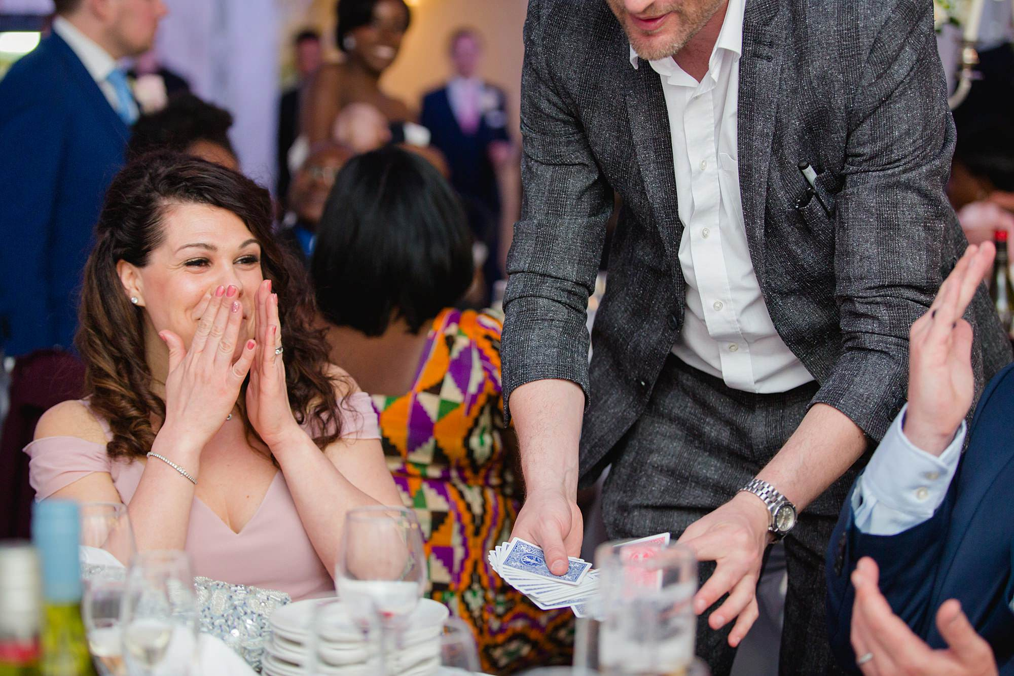 Bank of England Sports Centre wedding guest reaction to magic trick