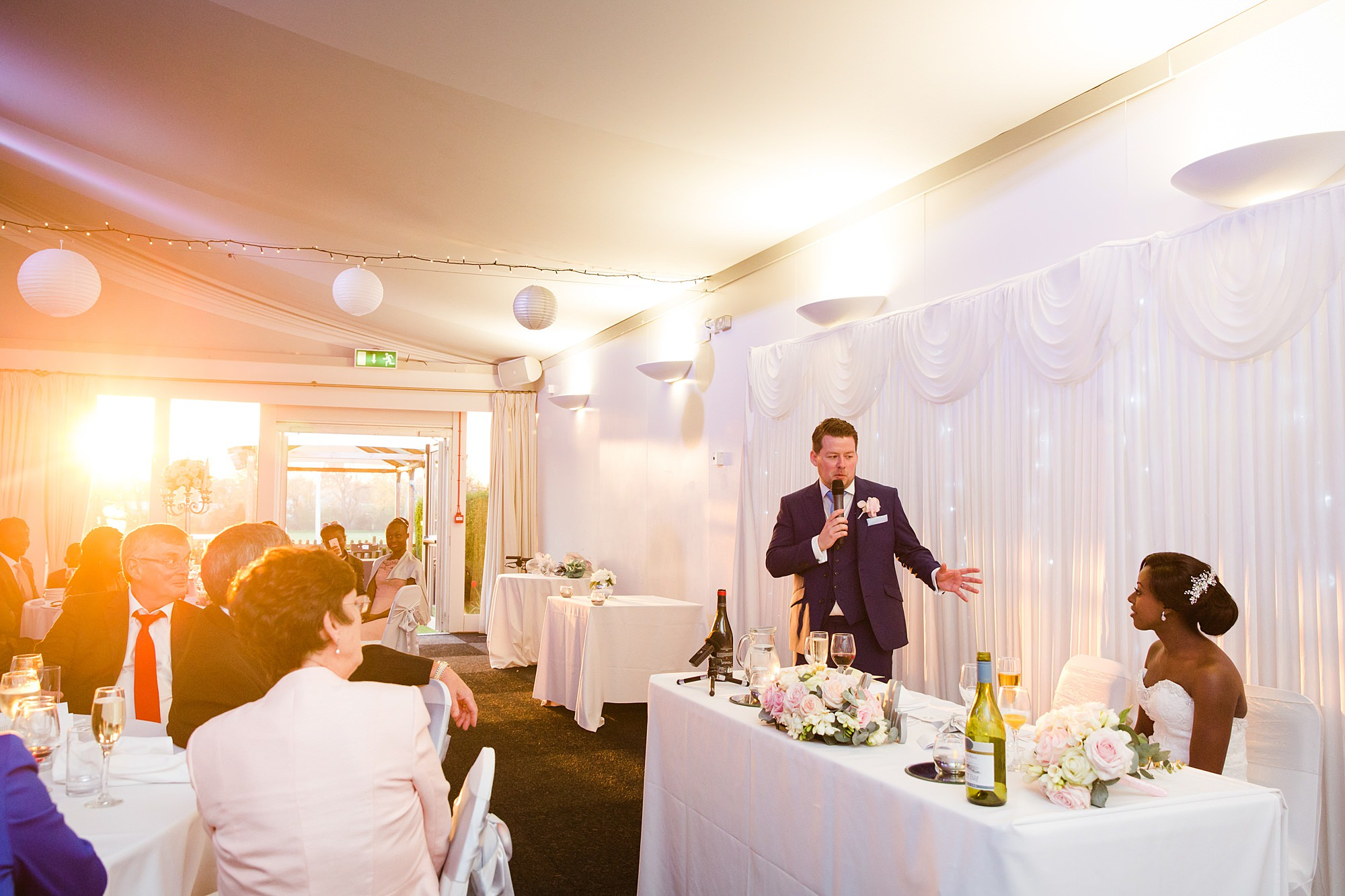 Bank of England Sports Centre wedding groom giving a speech