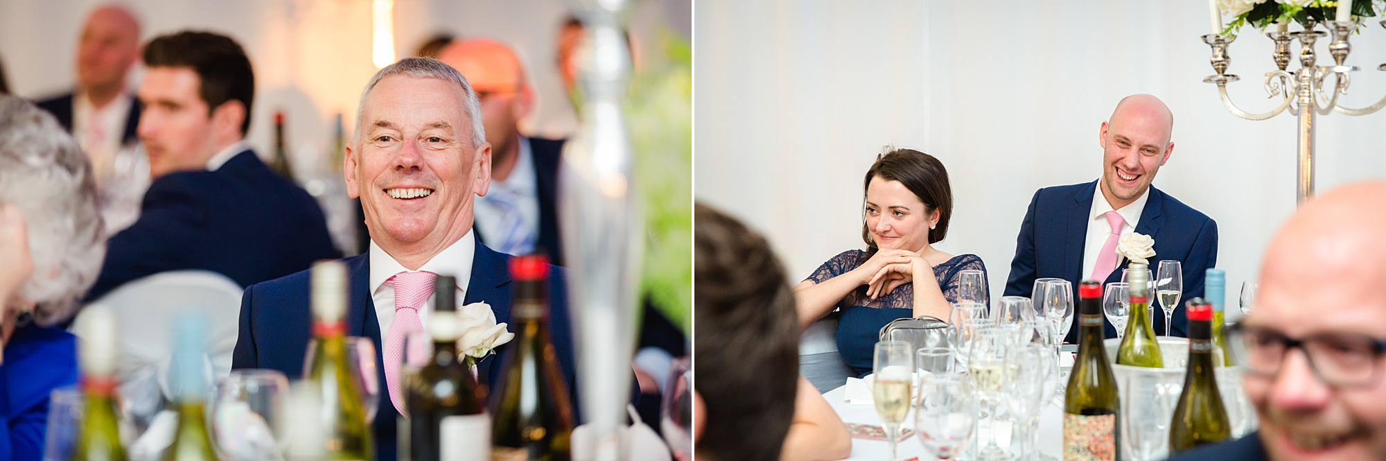 Bank of England Sports Centre wedding guests laugh during speeches
