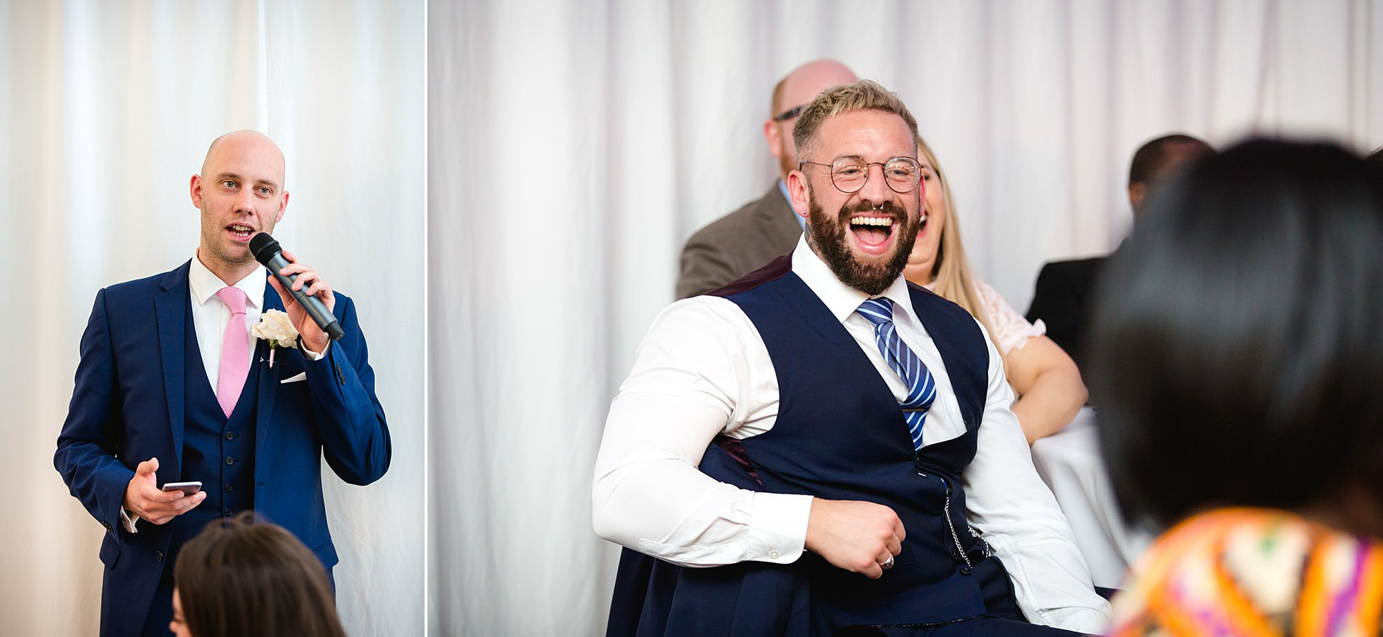 Bank of England Sports Centre wedding guests laugh