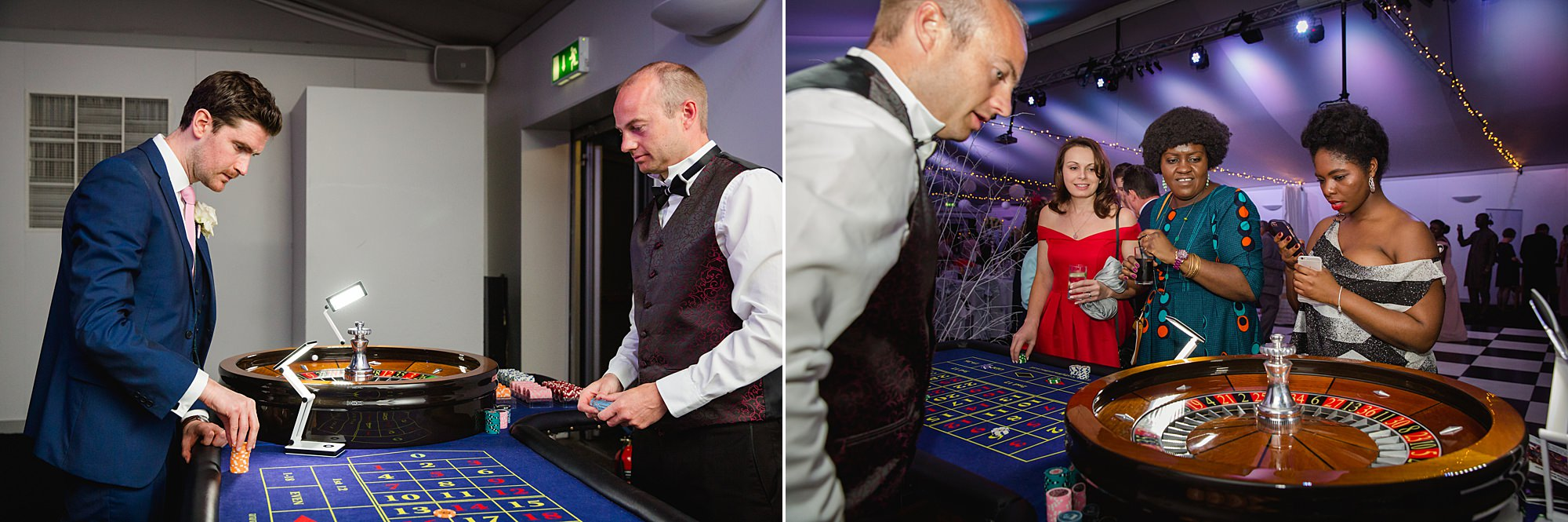Bank of England Sports Centre wedding guests at casino tables