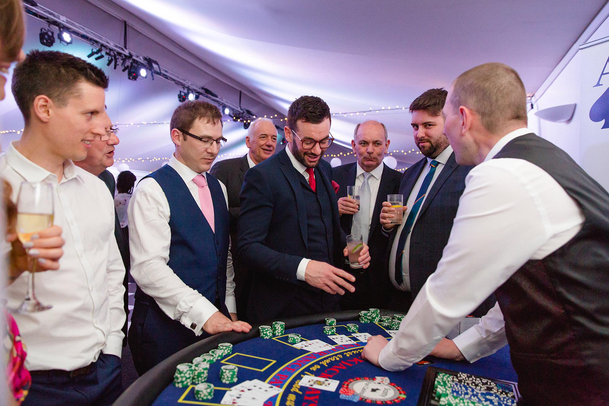 Bank of England Sports Centre wedding guests at blackjack table
