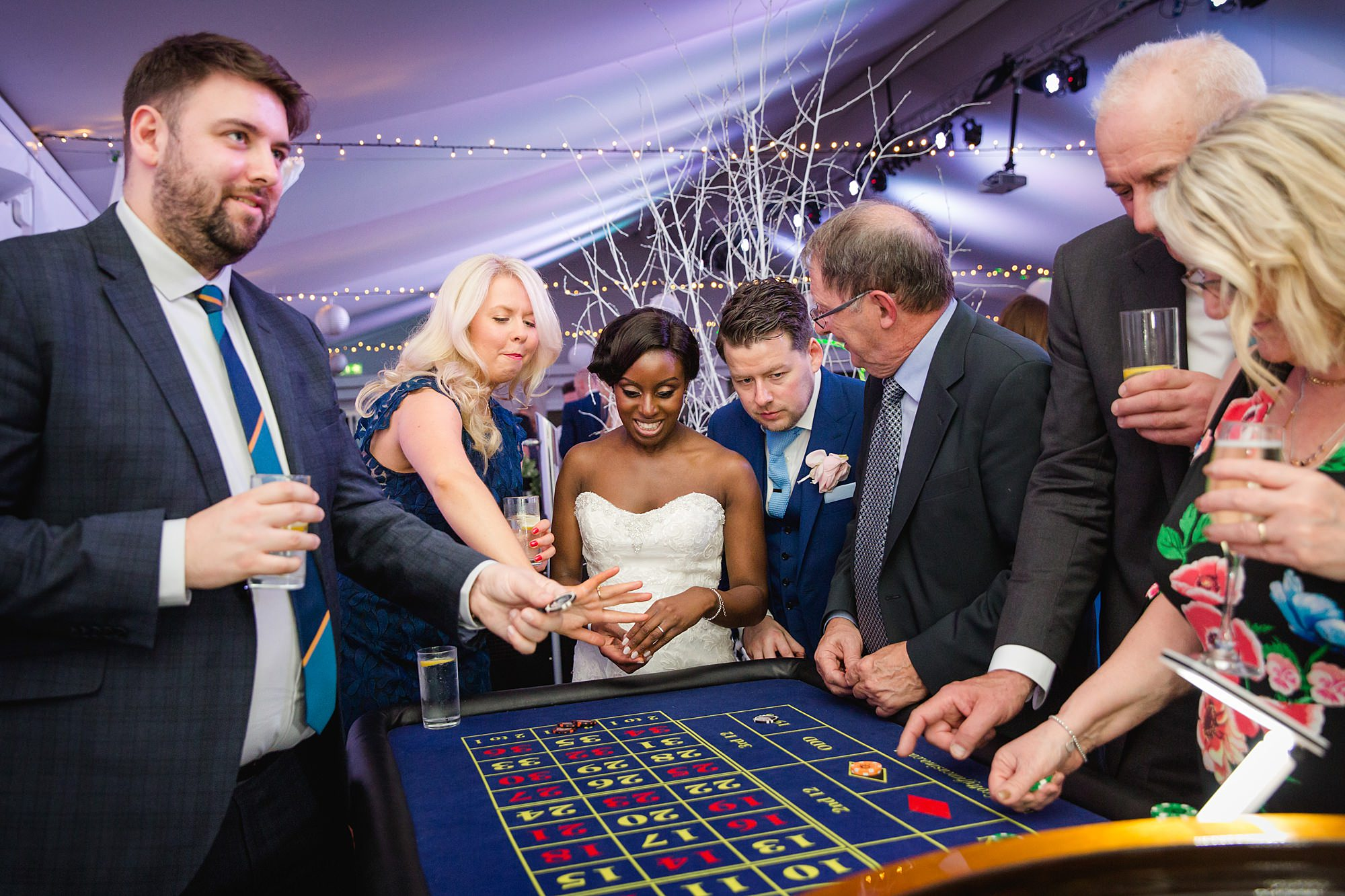 Bank of England Sports Centre wedding bride at roulette table