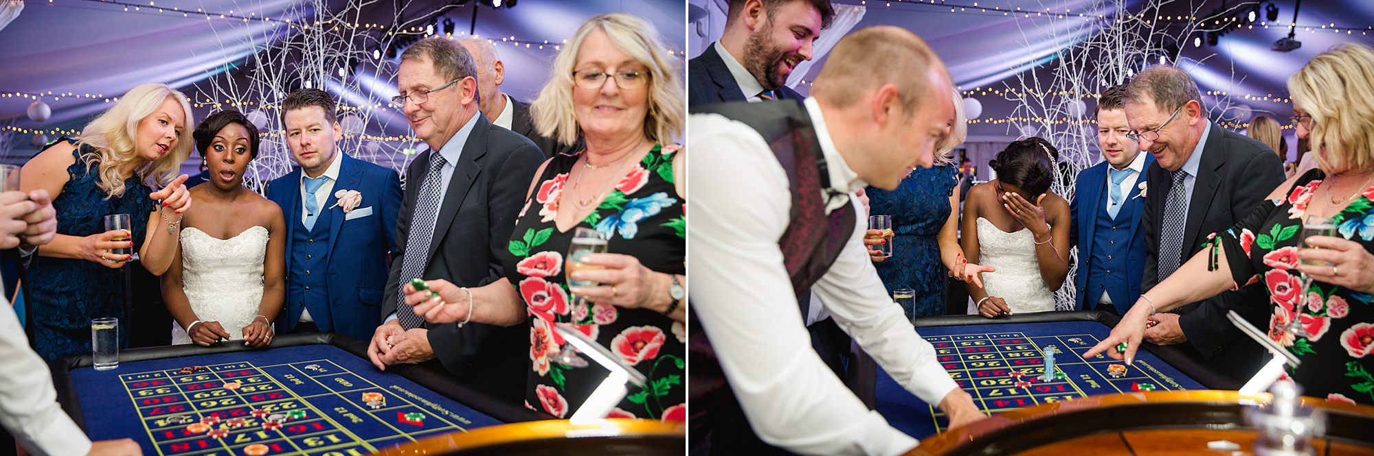 Bank of England Sports Centre wedding bride's reaction at roulette table
