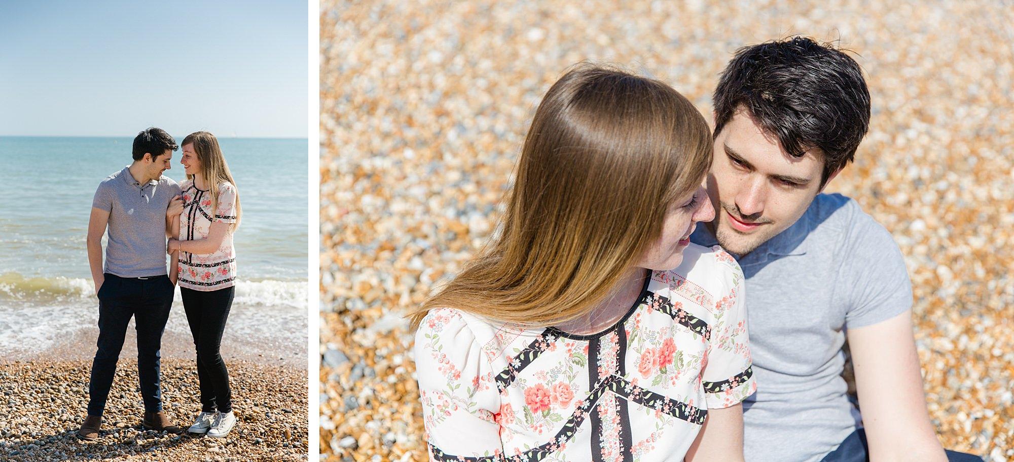 Fun Brighton engagement shoot couple on brighton beach