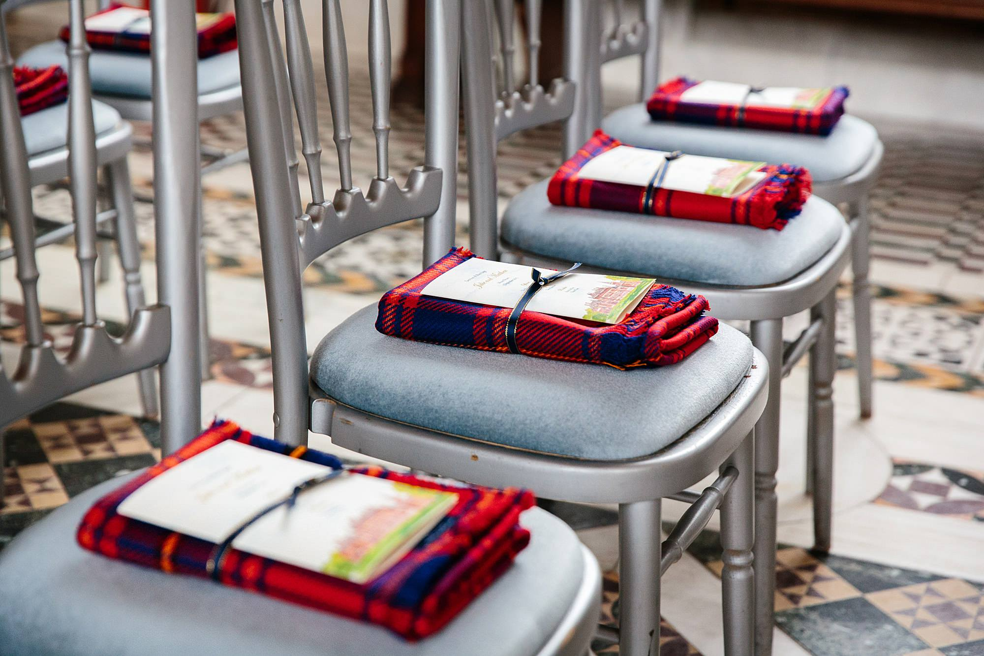intimate wedding scotland tartan scarf wedding favours