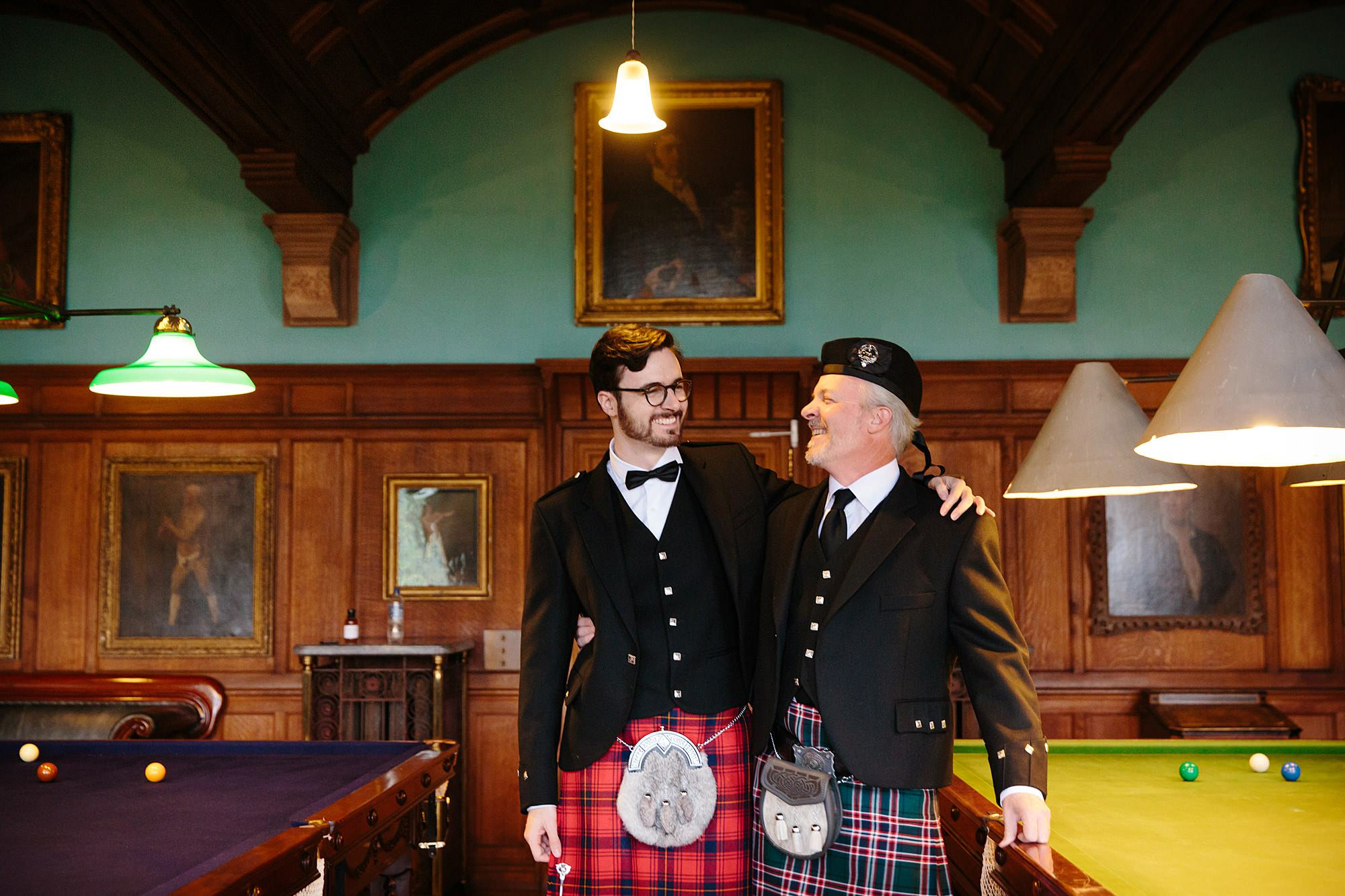 intimate wedding scotland groom and his dad