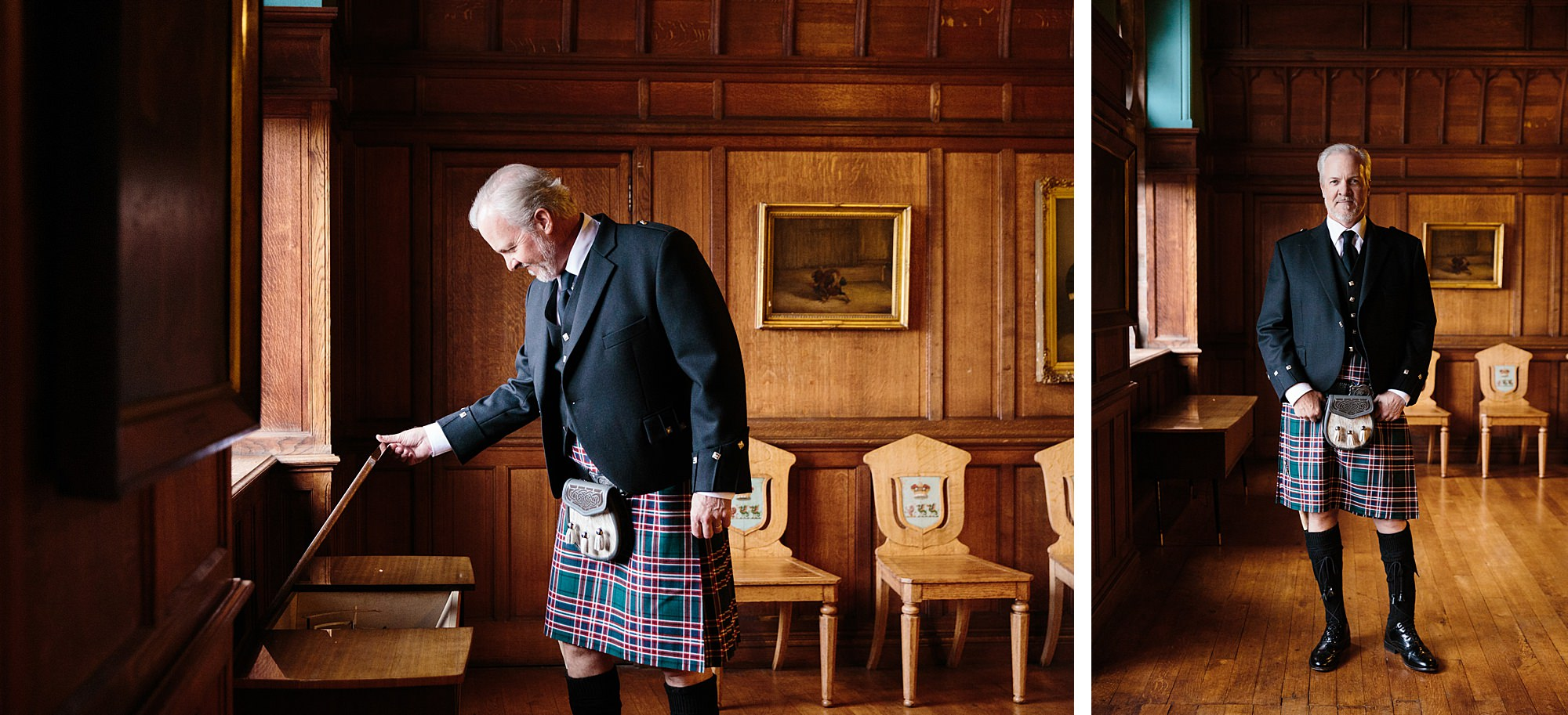 intimate wedding scotland portrait of father of groom