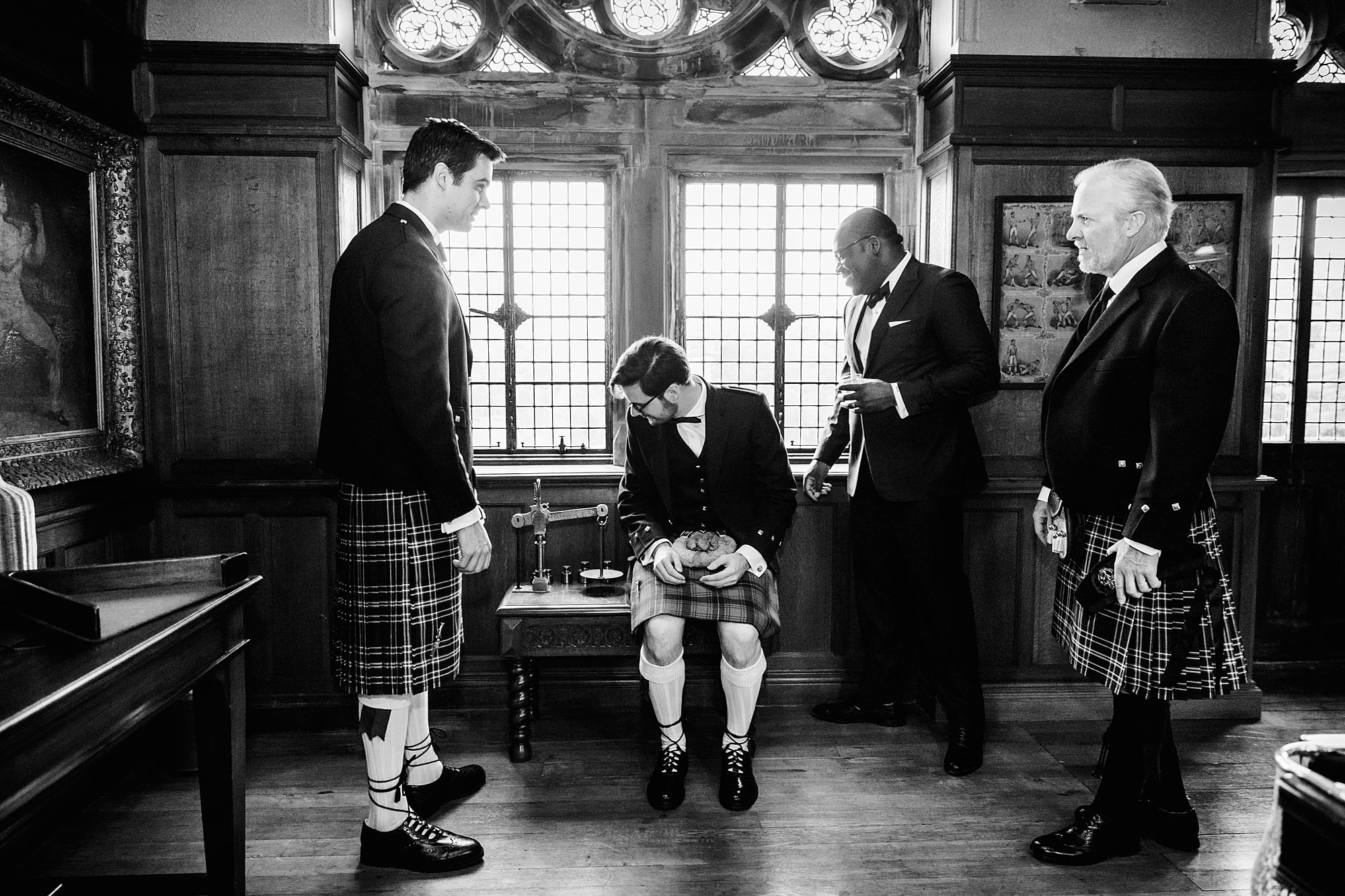 intimate wedding scotland groom and friends in billiards room