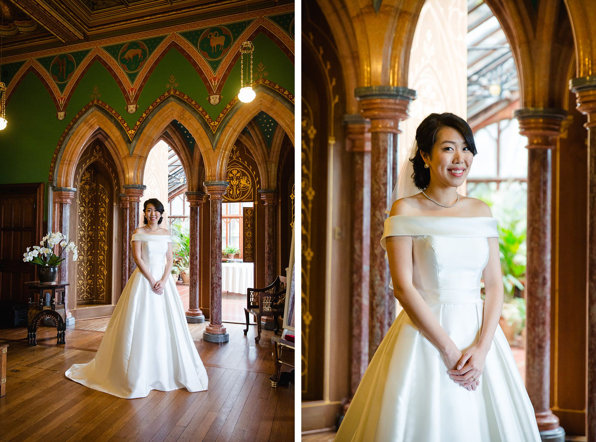 intimate wedding scotland portrait of bride in bedroom at mount stuart