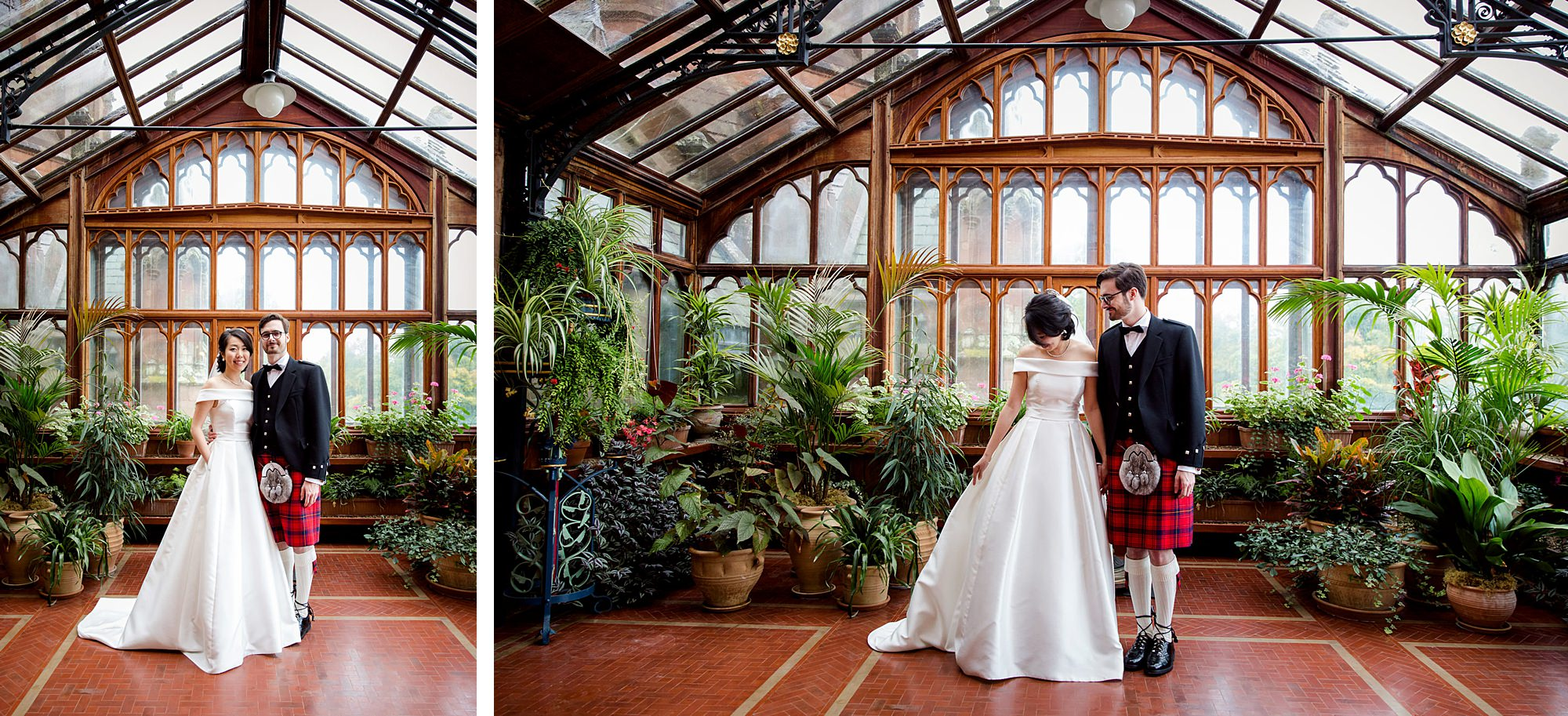 intimate wedding scotland portrait if bride and groom in conservatory