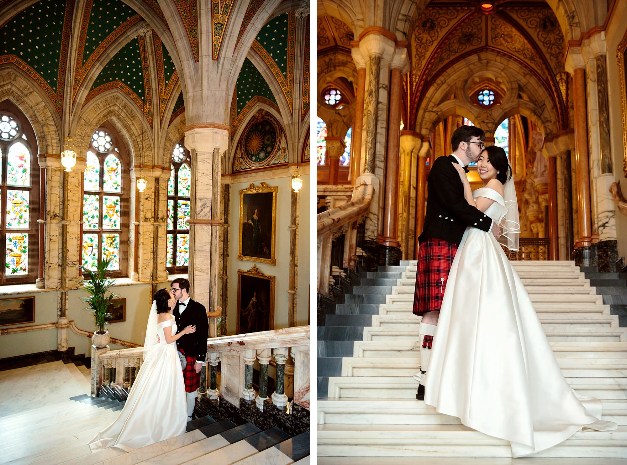 intimate wedding scotland bride and groom on mount stuart stairs