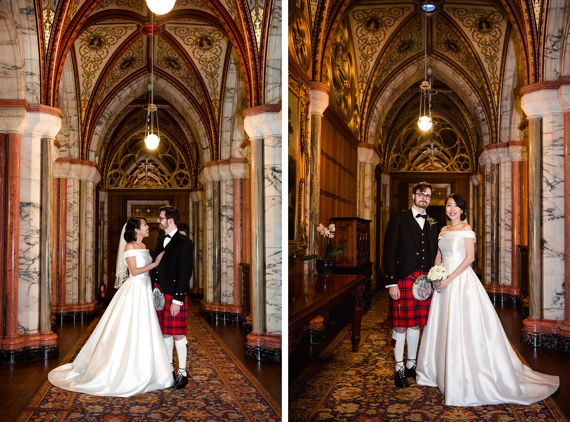 intimate wedding scotland bride and groom in mount stuart hallways