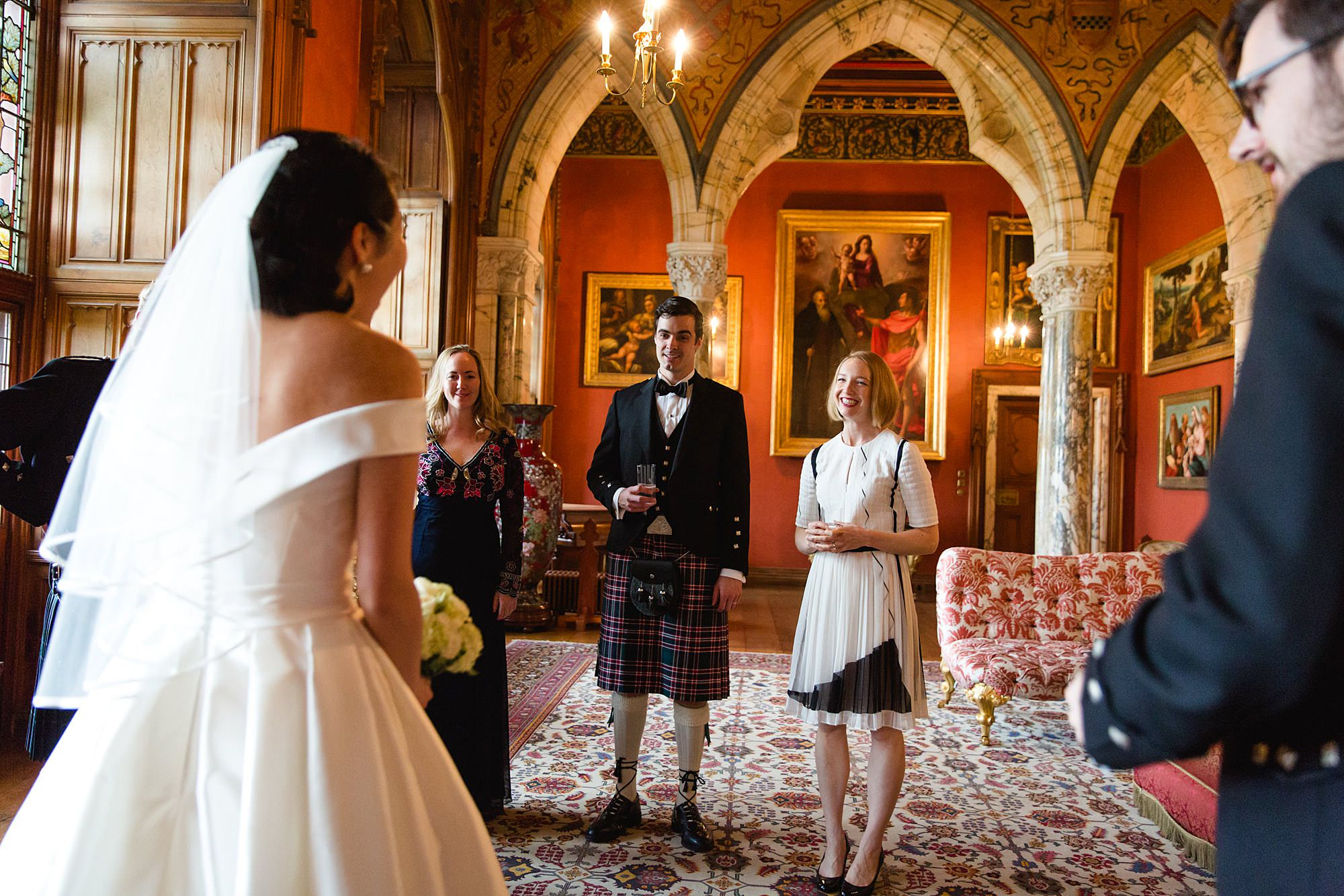 intimate wedding scotland bride and groom greet wedding guests