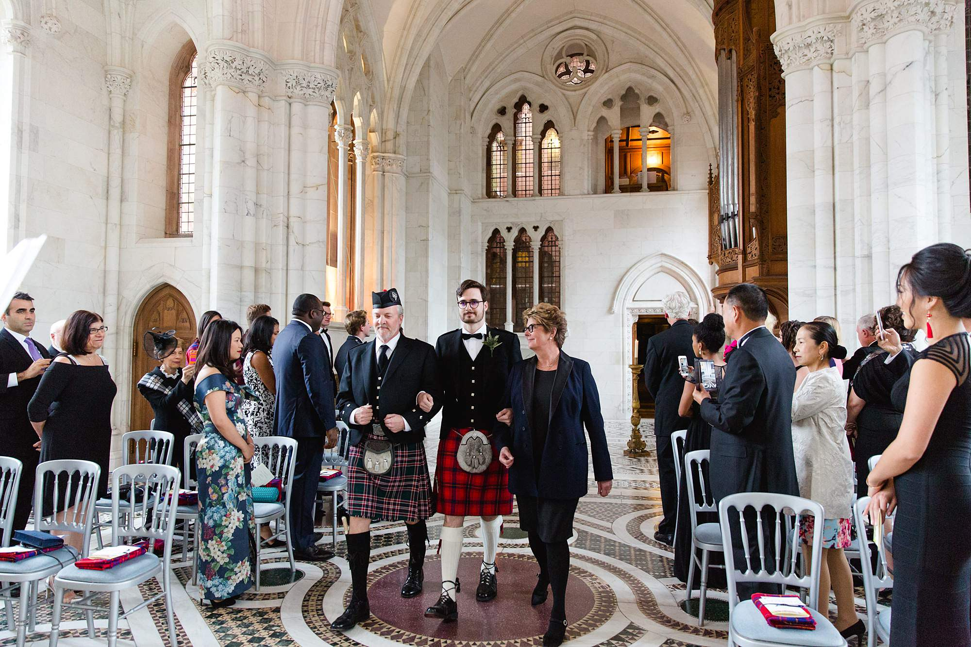 intimate wedding scotland groom escorted by parents