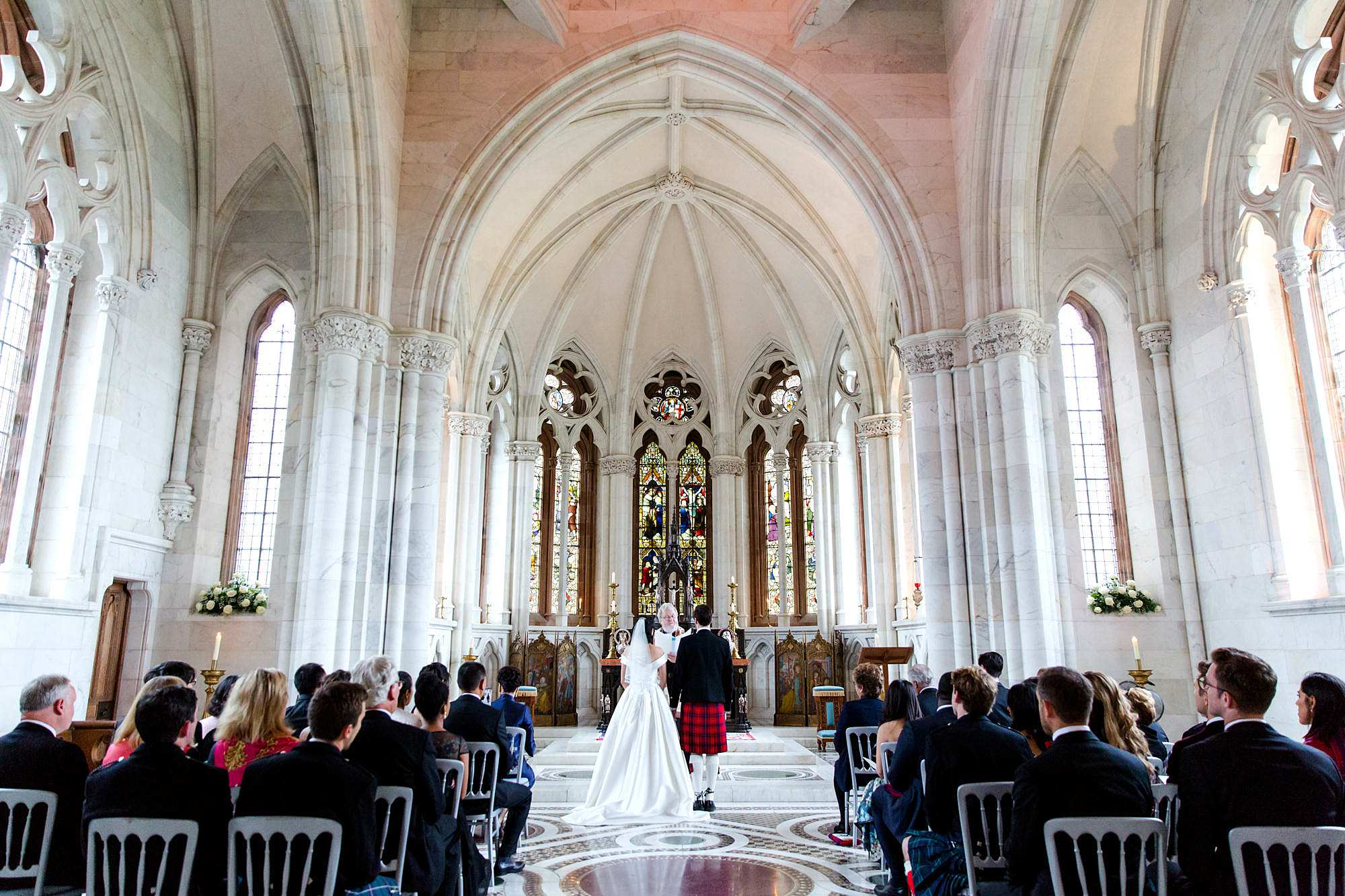 intimate wedding scotland in the marble chapel at mount stuart