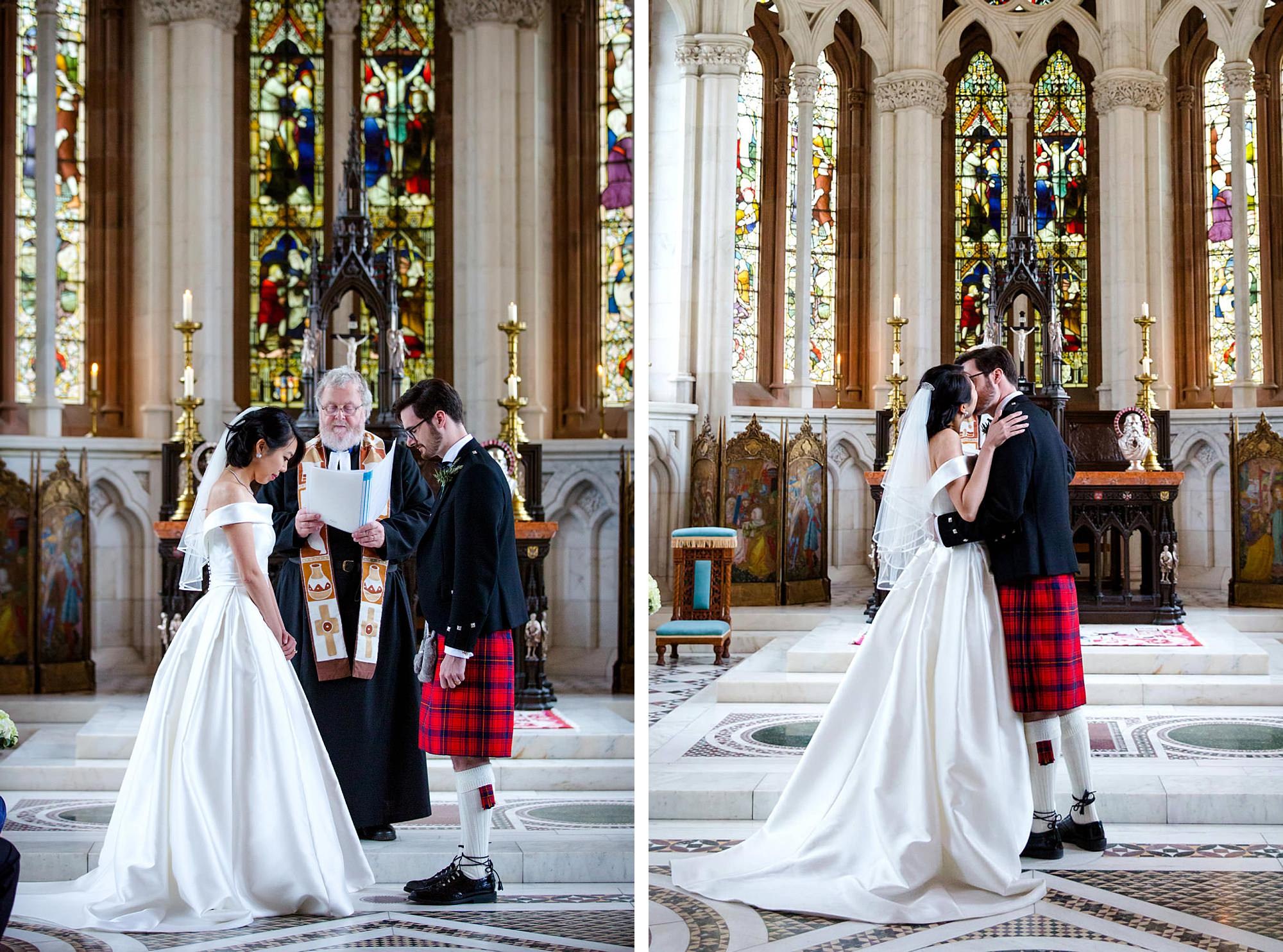 intimate wedding scotland bride and groom first kiss