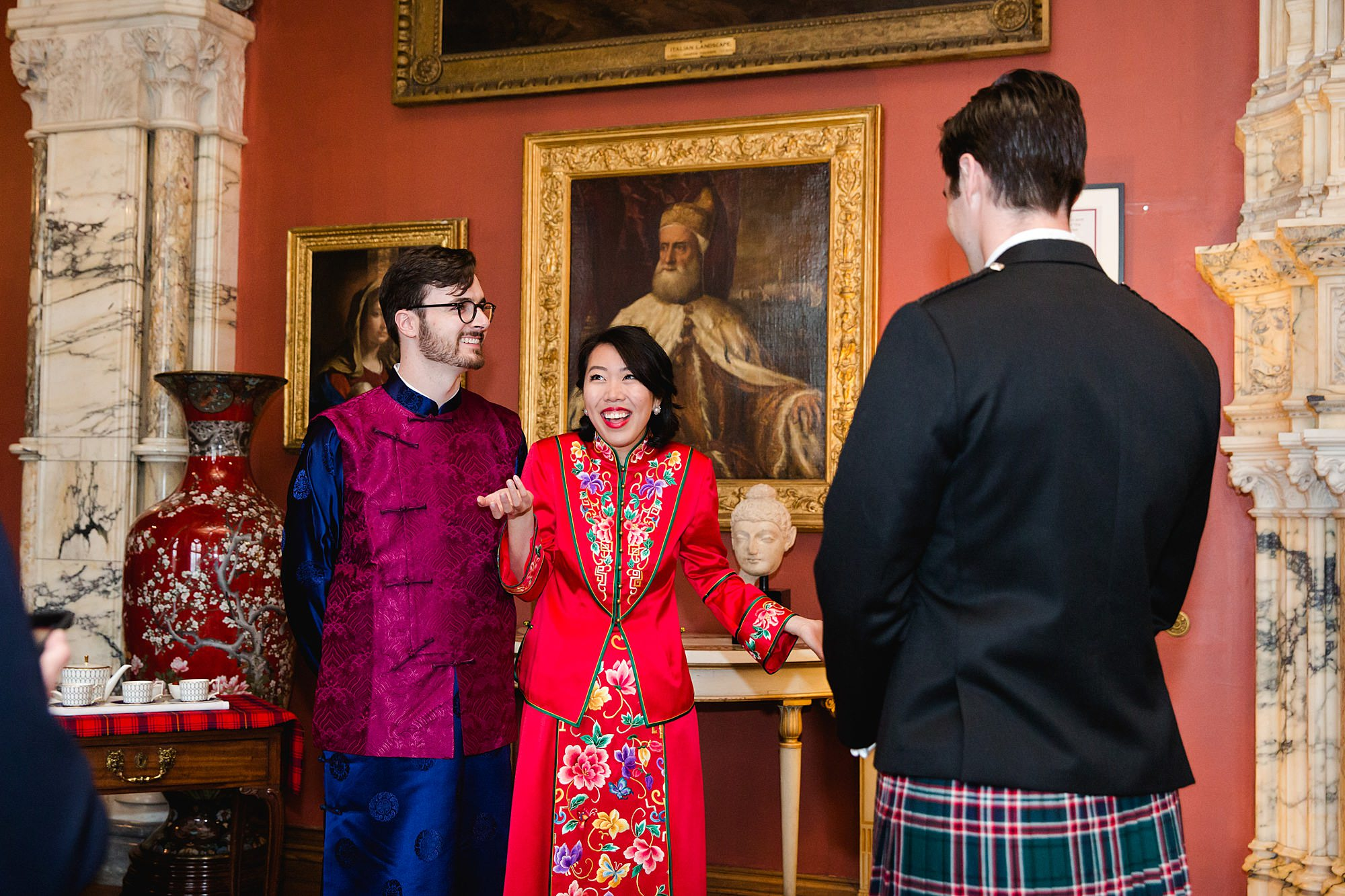 intimate wedding scotland bride and groom ahead of chinese tea ceremony