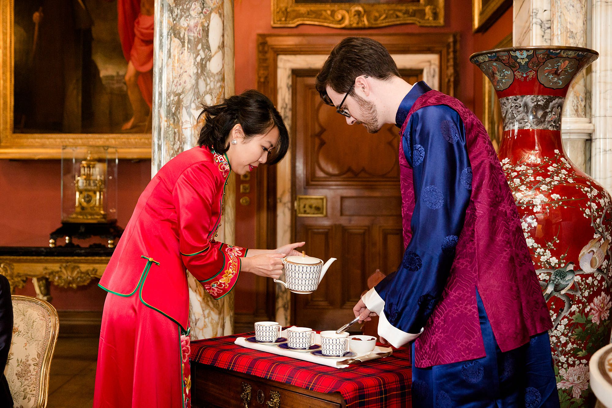 intimate wedding scotland bride and groom pour tea during ceremony