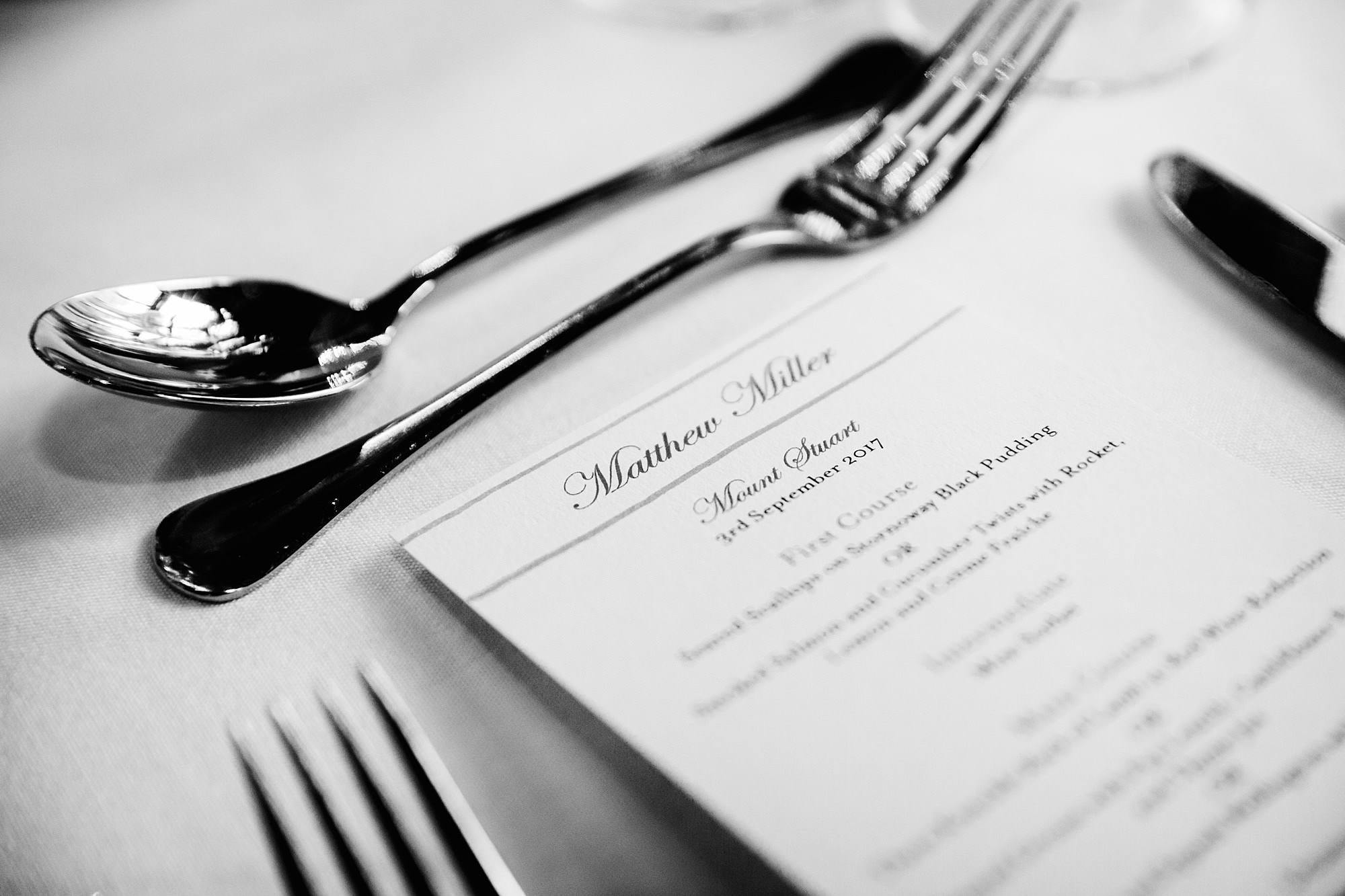intimate wedding scotland menu