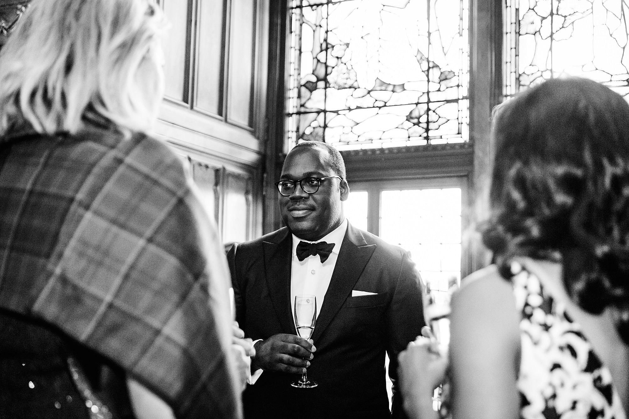 intimate wedding scotland portrait of guest at drinks reception