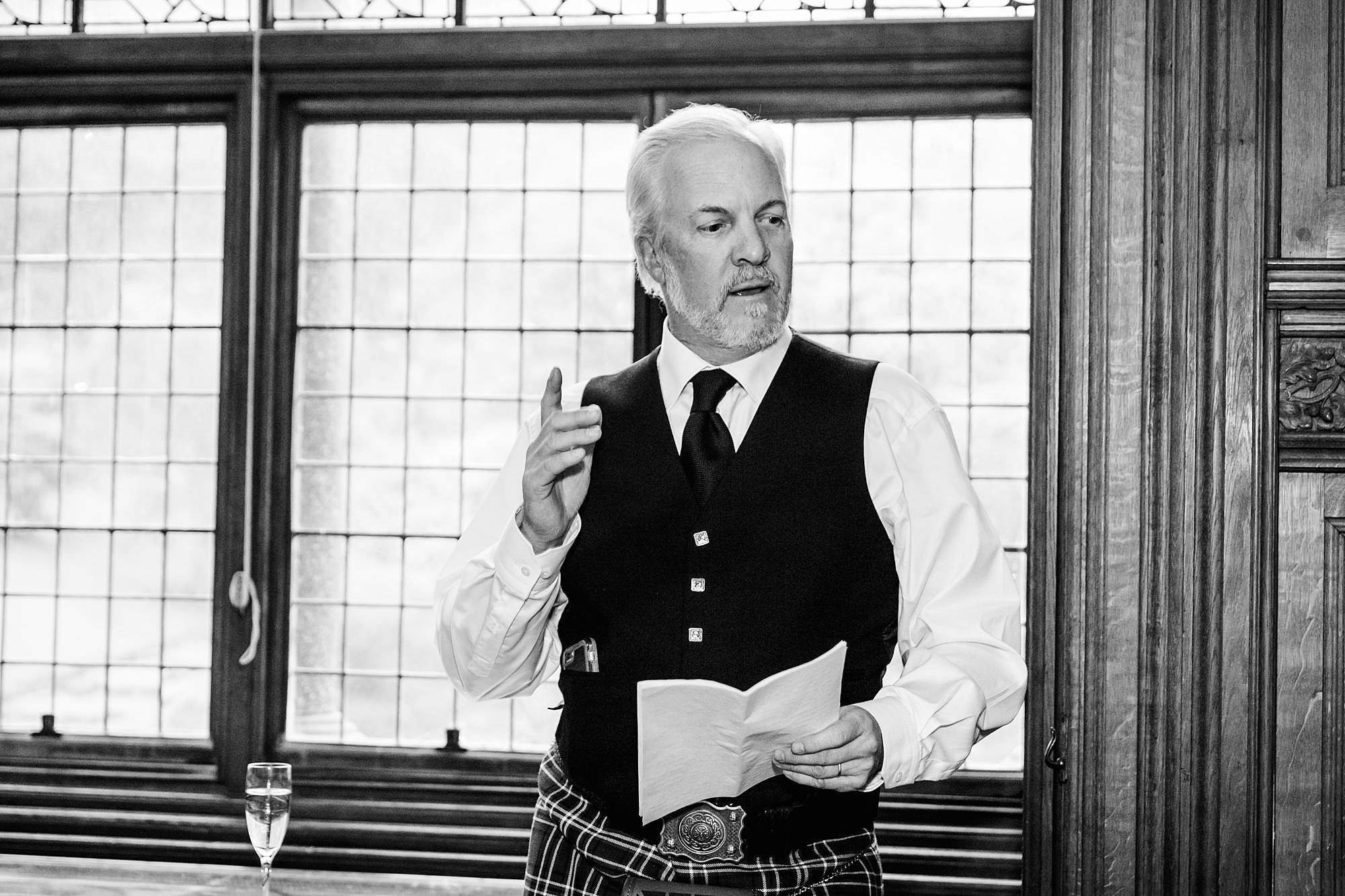 intimate wedding scotland father of groom speech