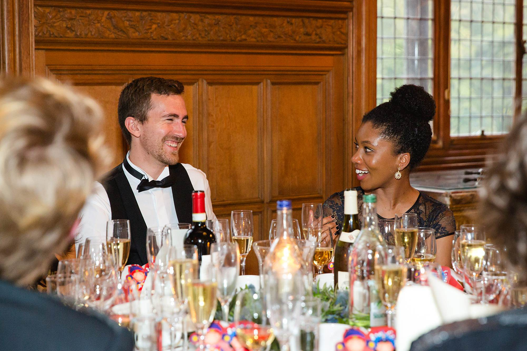 intimate wedding scotland guests chat over dinner