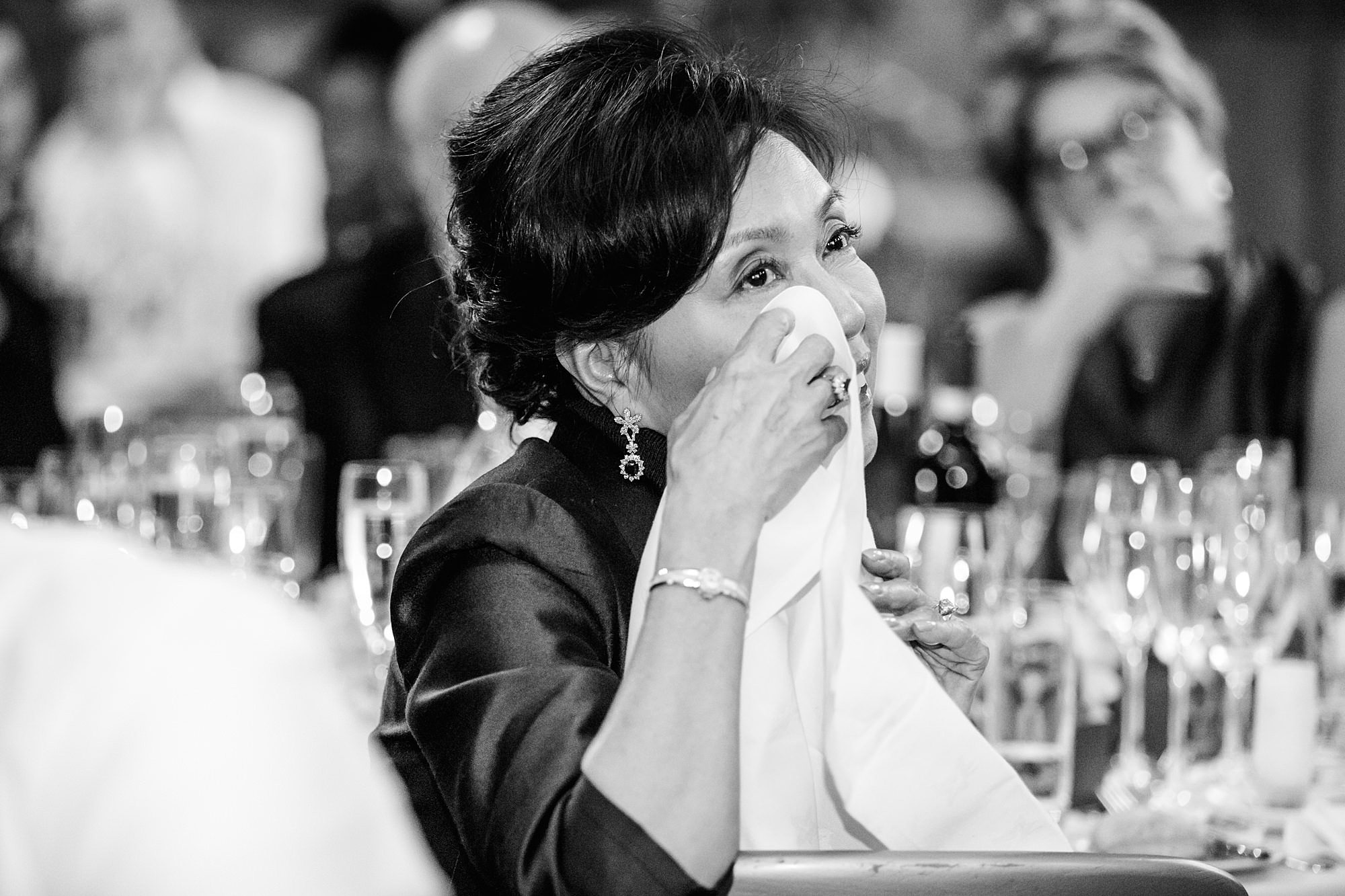 intimate wedding scotland mother of bride wipes away a tear