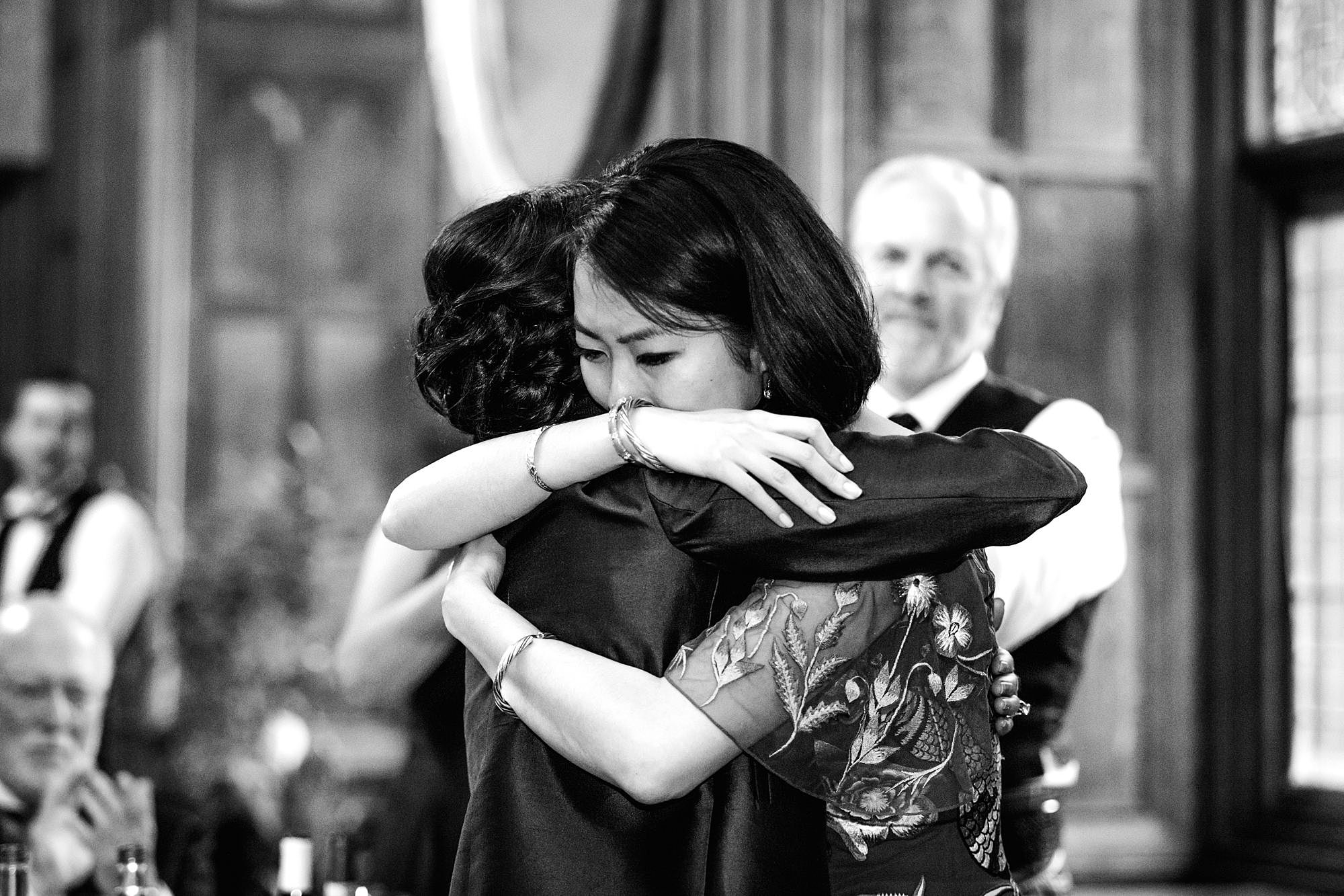 intimate wedding scotland bride hugs her mother