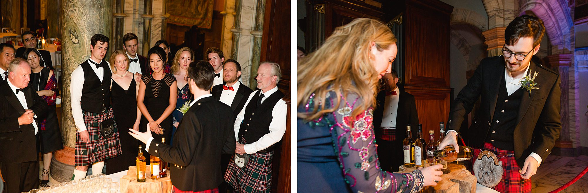 intimate wedding scotland guests try whiskey
