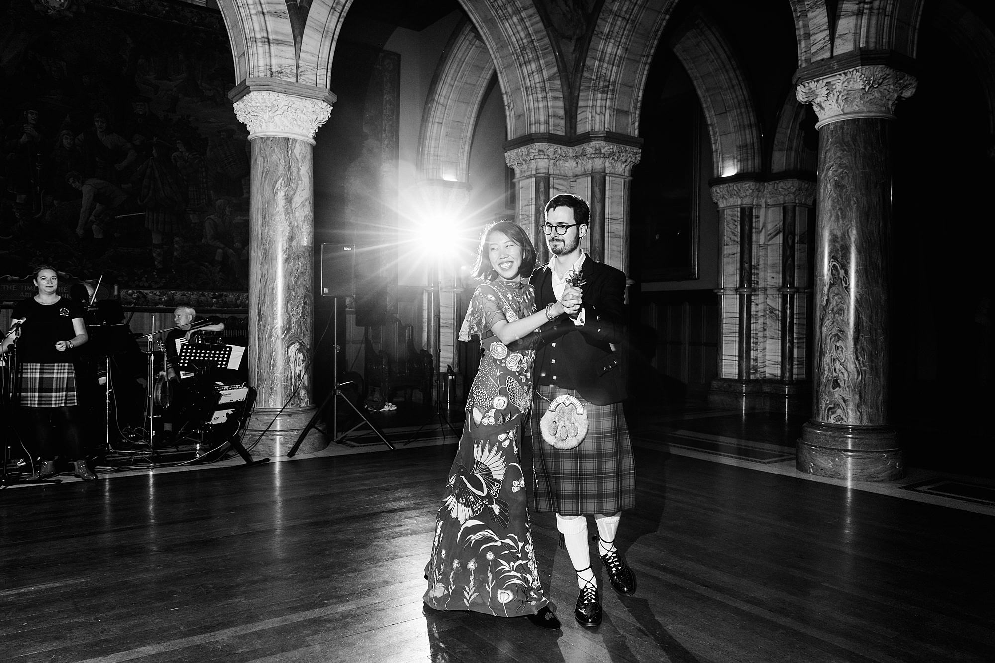 intimate wedding scotland bride and groom ceilidh first dance